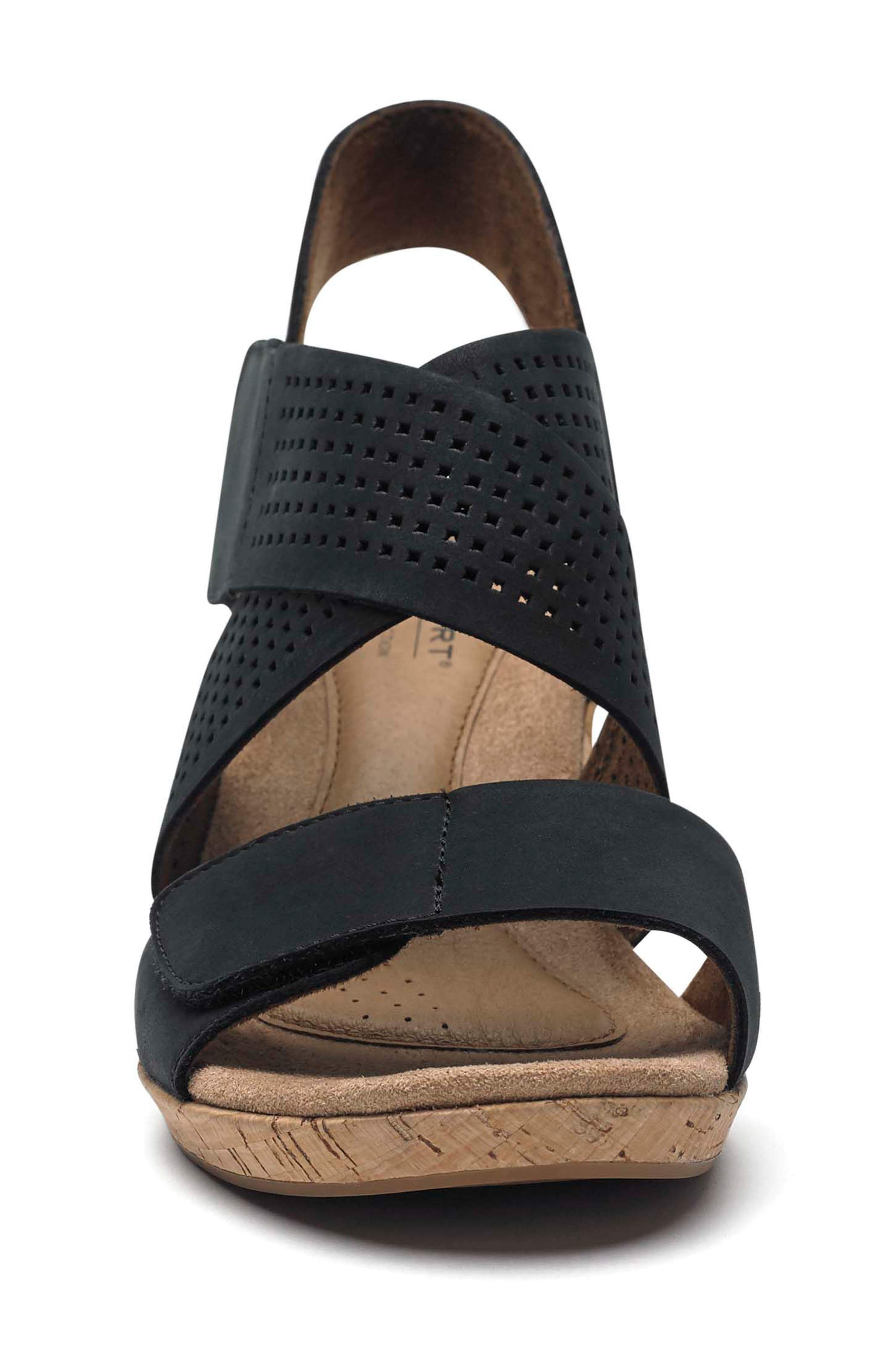 Janna Cross Strap Wedge Sandal,                             Alternate thumbnail 4, color,                             001