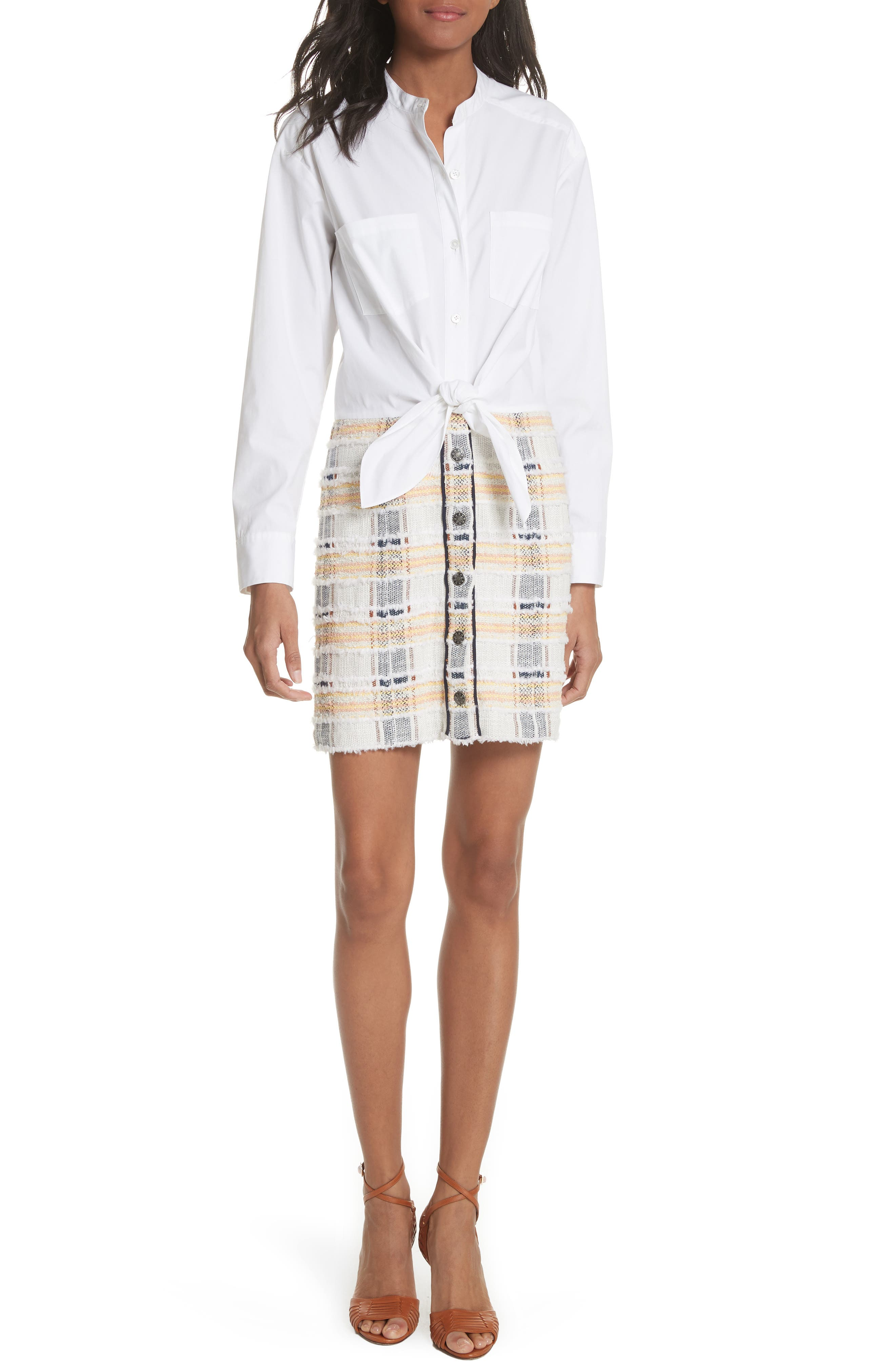 Aurelia Mixed Media Shirtdress,                             Main thumbnail 1, color,