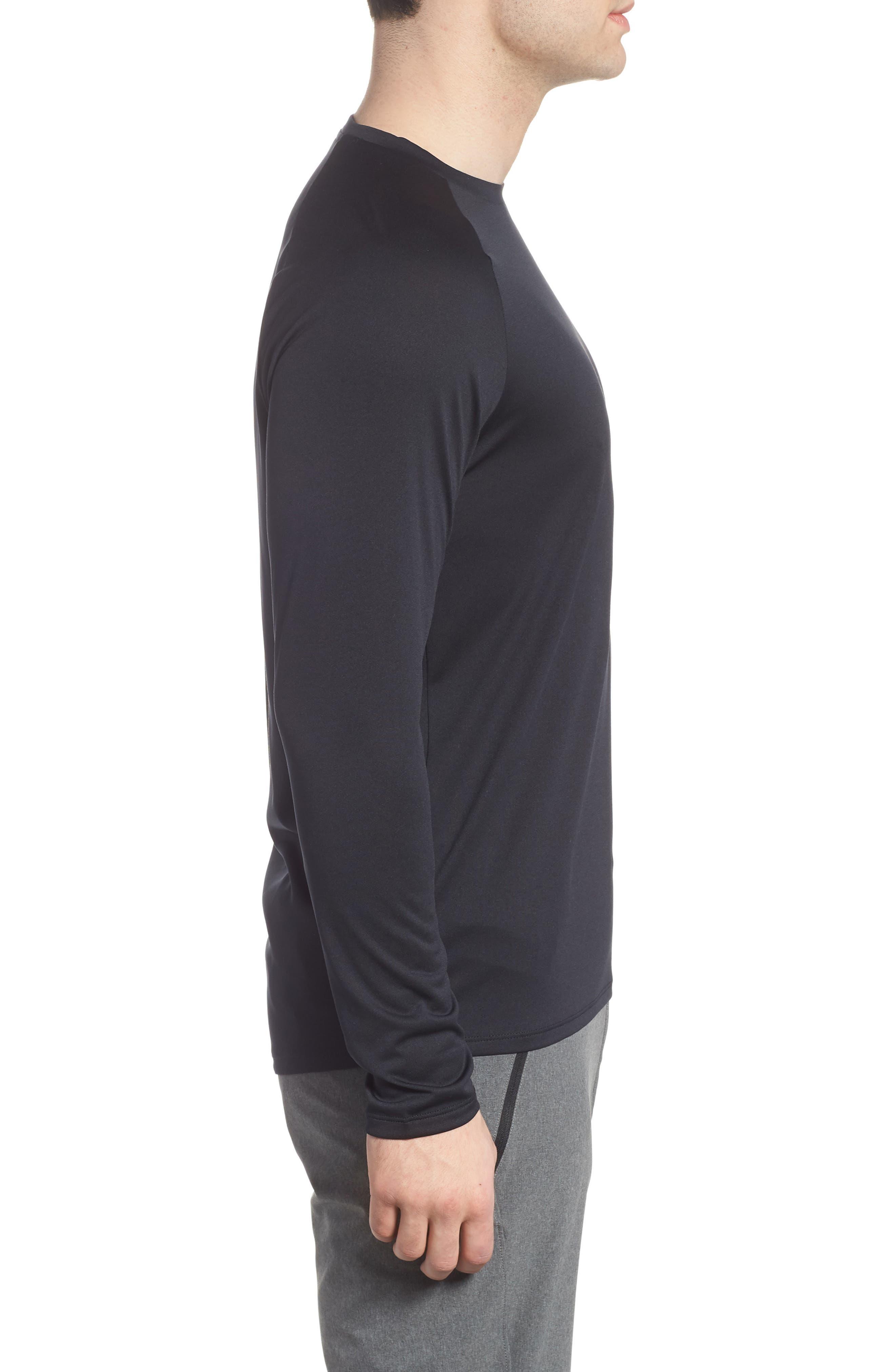 Performance Tech Long Sleeve Shirt,                             Alternate thumbnail 3, color,                             BLACK/ STEEL