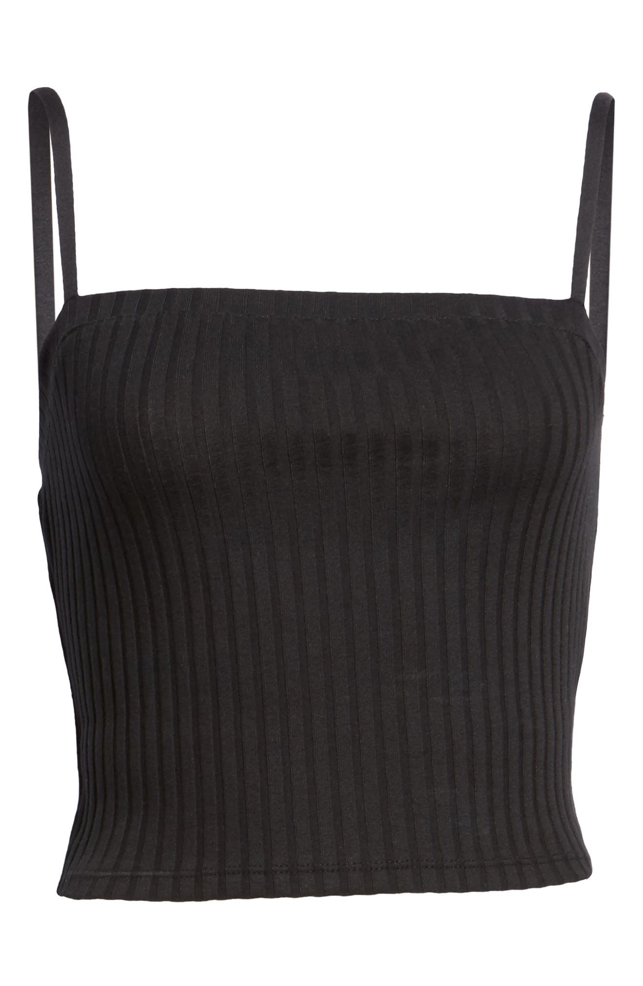 Square Neck Ribbed Crop Tank Top,                             Alternate thumbnail 6, color,                             001