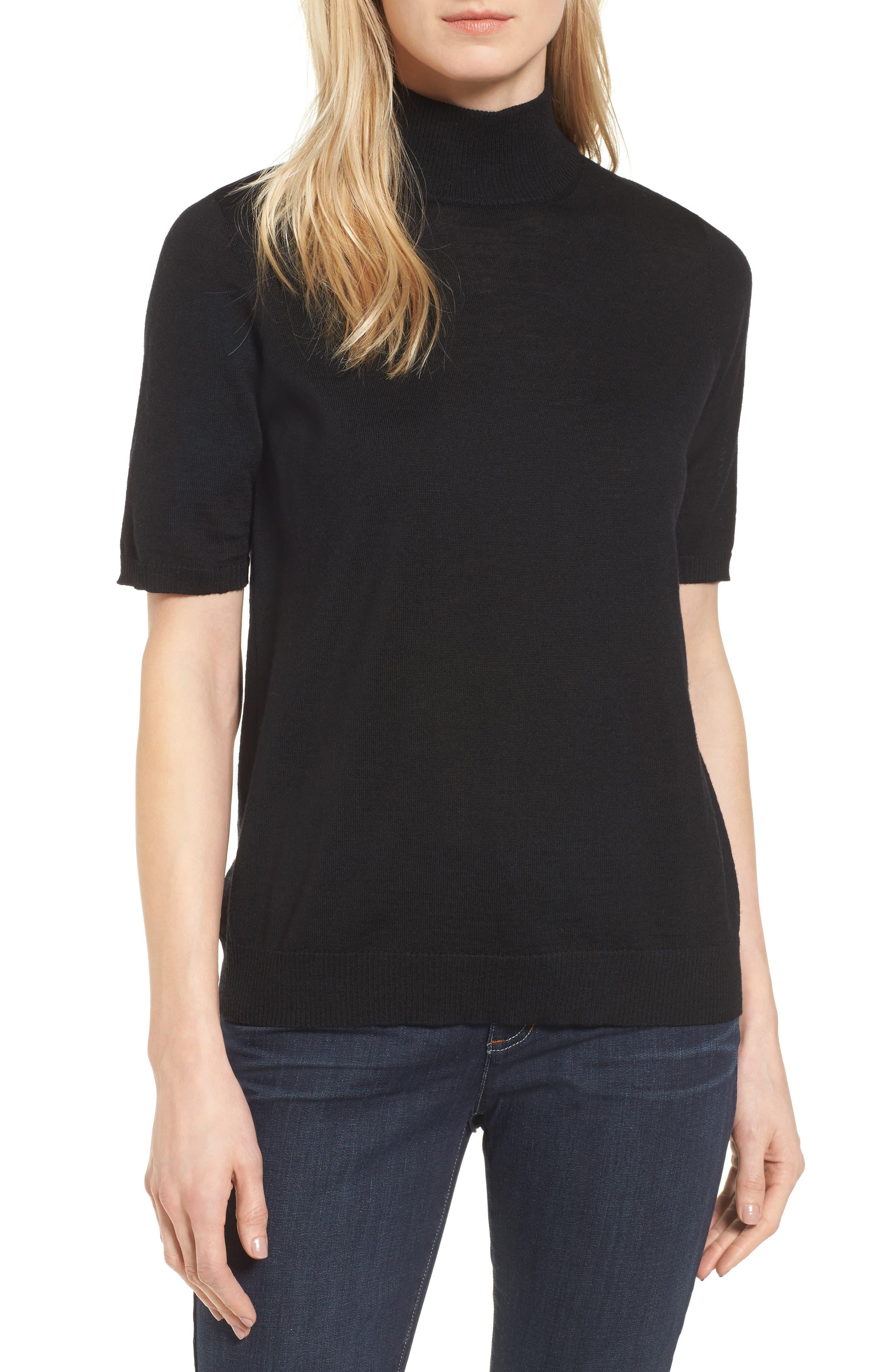 Eileen Fisher Merino Wool Mock Neck Sweater, Black