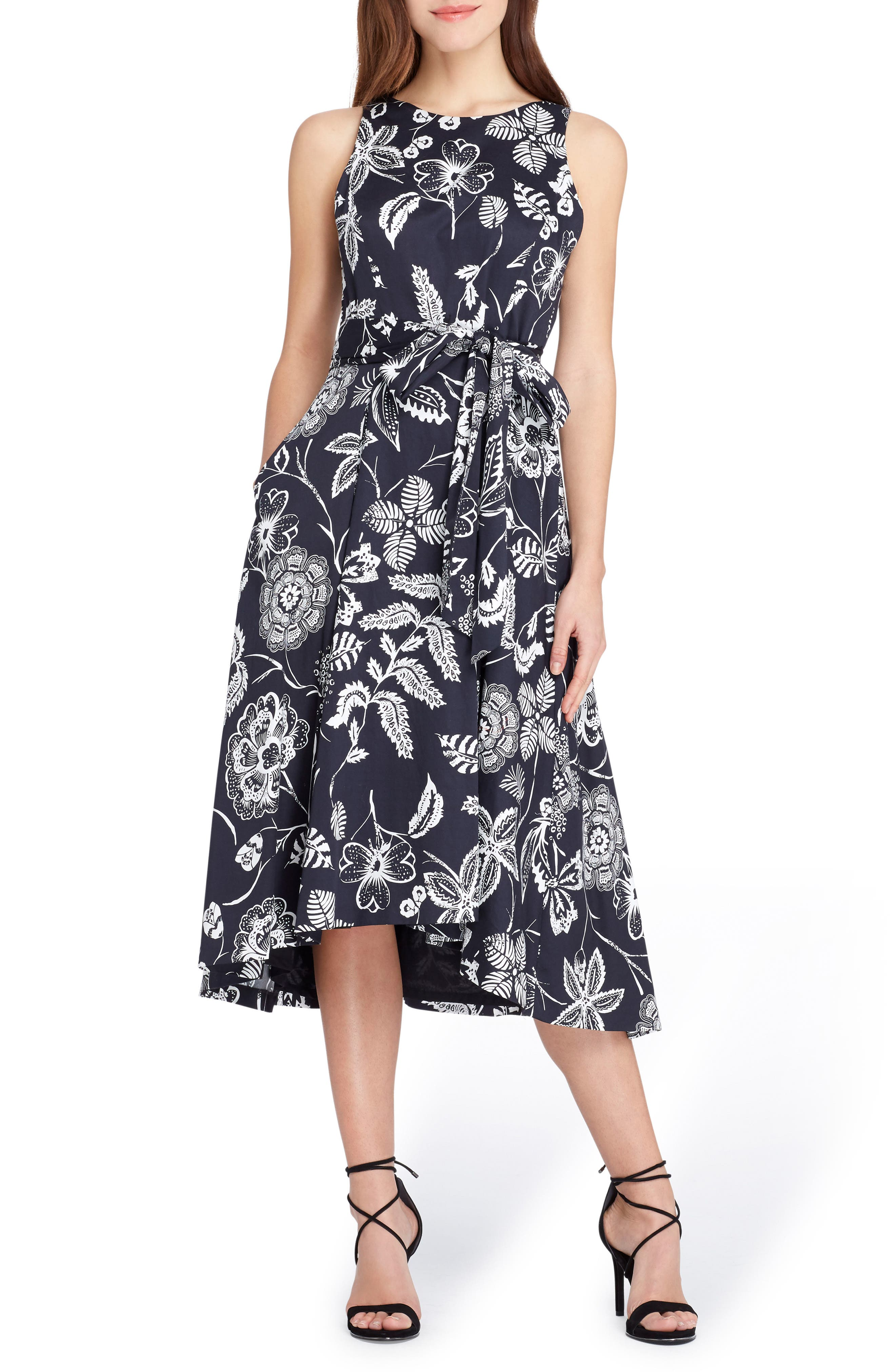 Print Sateen Midi Dress,                             Main thumbnail 1, color,                             013