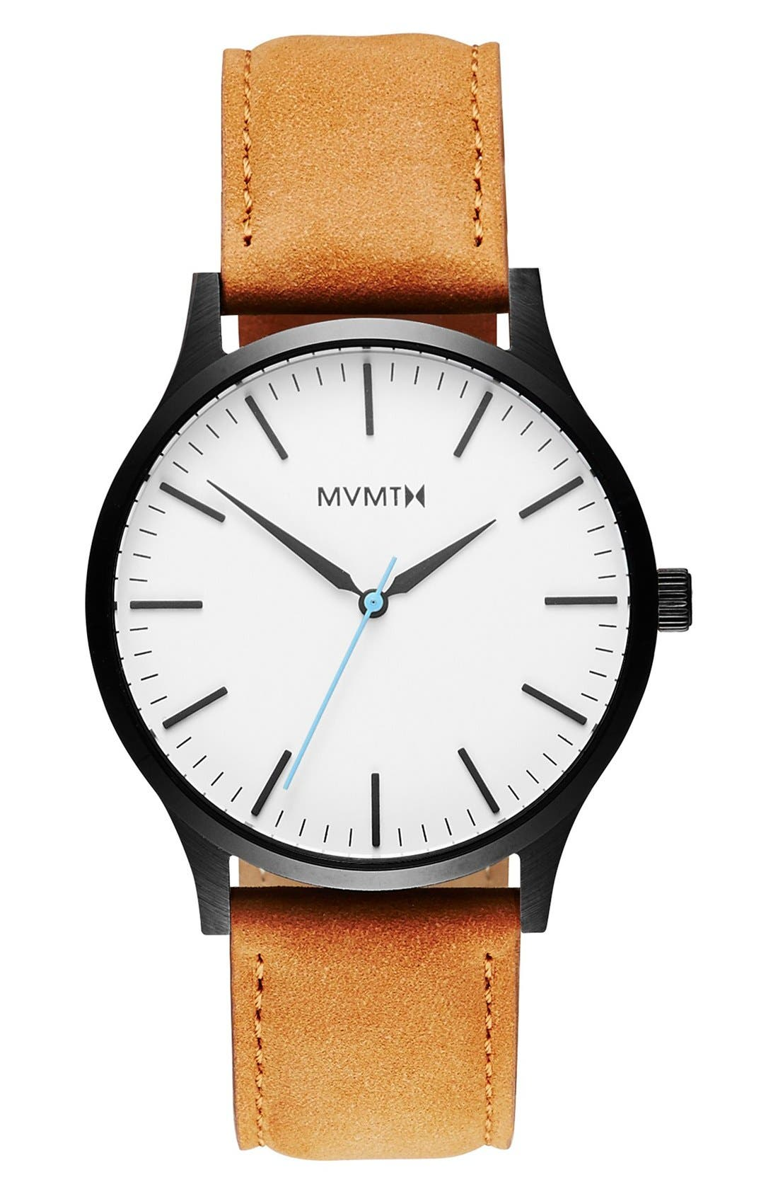 Leather Strap Watch, 40mm,                         Main,                         color, WHITE/ TAN