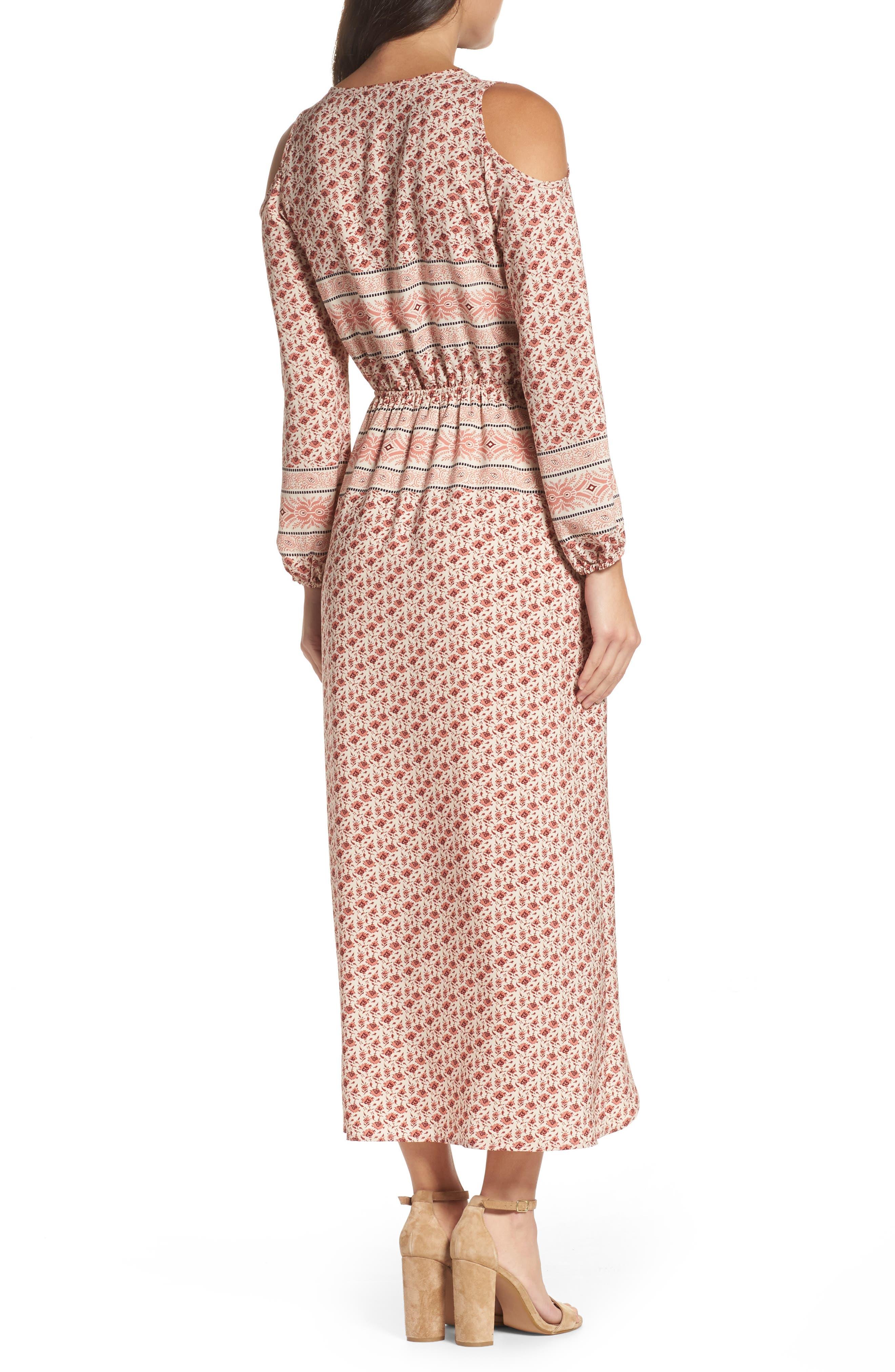 Cold Shoulder Midi Dress,                             Alternate thumbnail 2, color,                             MADISON