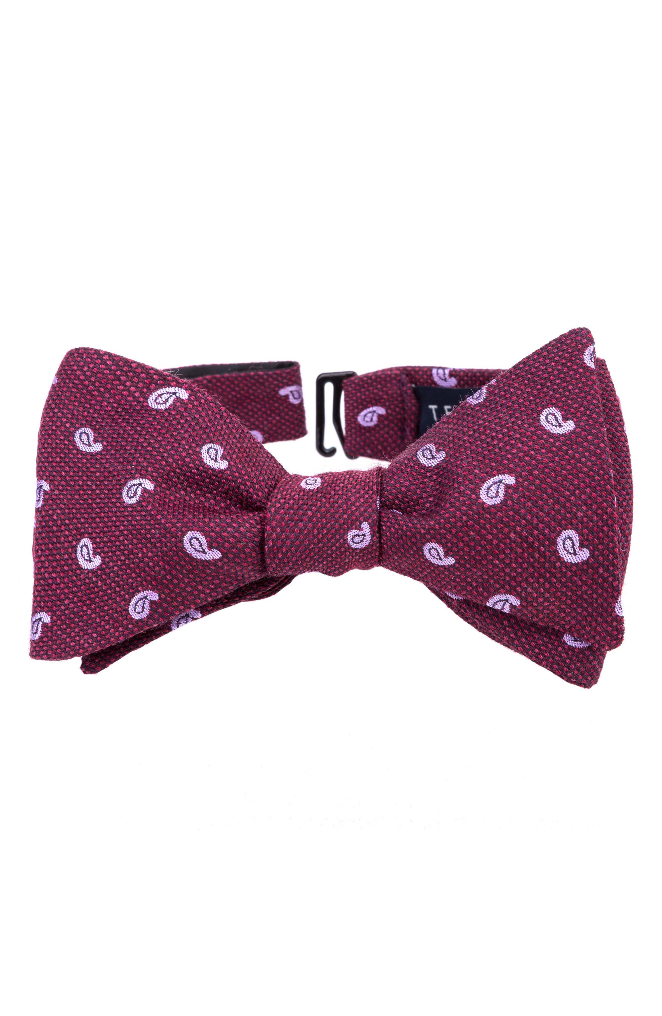 Paisley Silk & Wool Bow Tie,                             Main thumbnail 5, color,