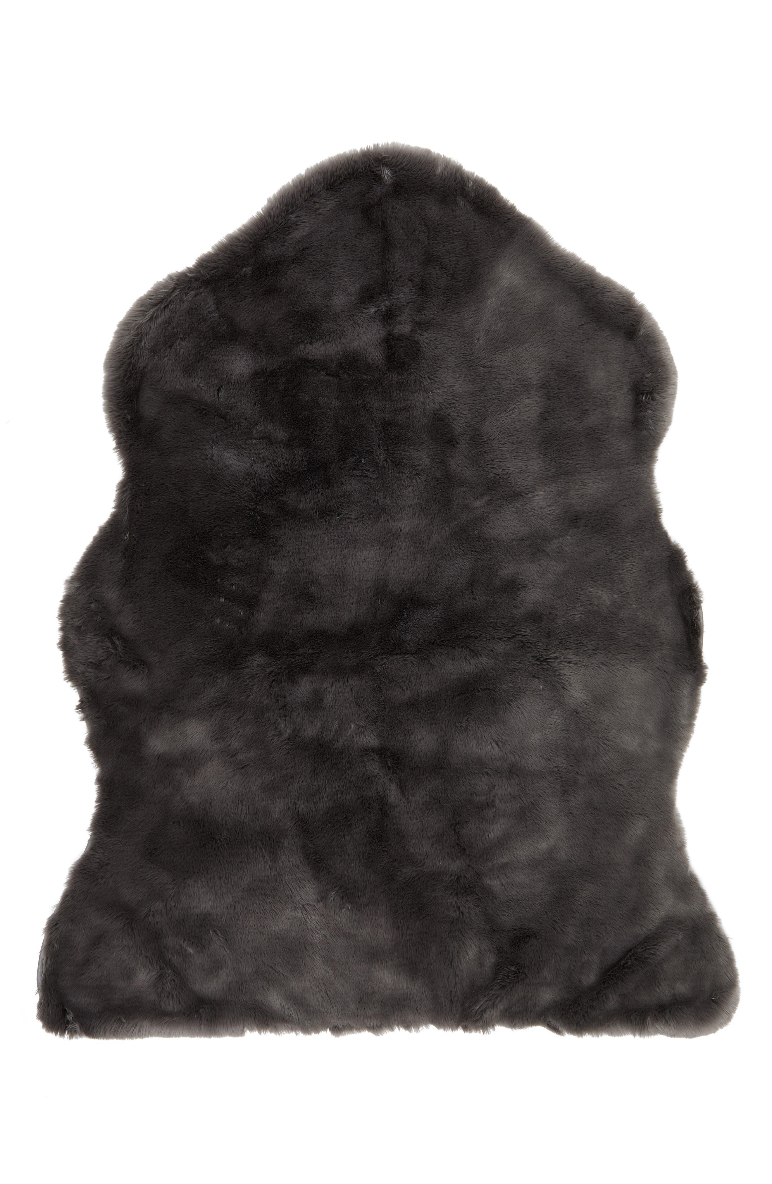 Cuddle Up Faux Fur Shaped Rug,                         Main,                         color, GREY ASPHALT