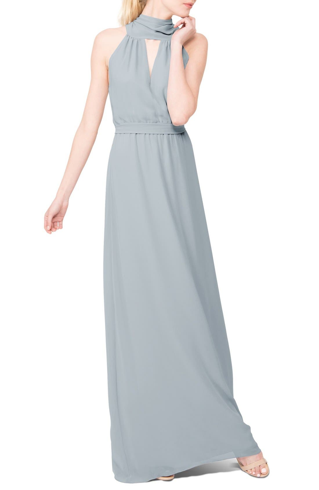 Riggs Halter V-Neck Chiffon Gown,                             Main thumbnail 3, color,