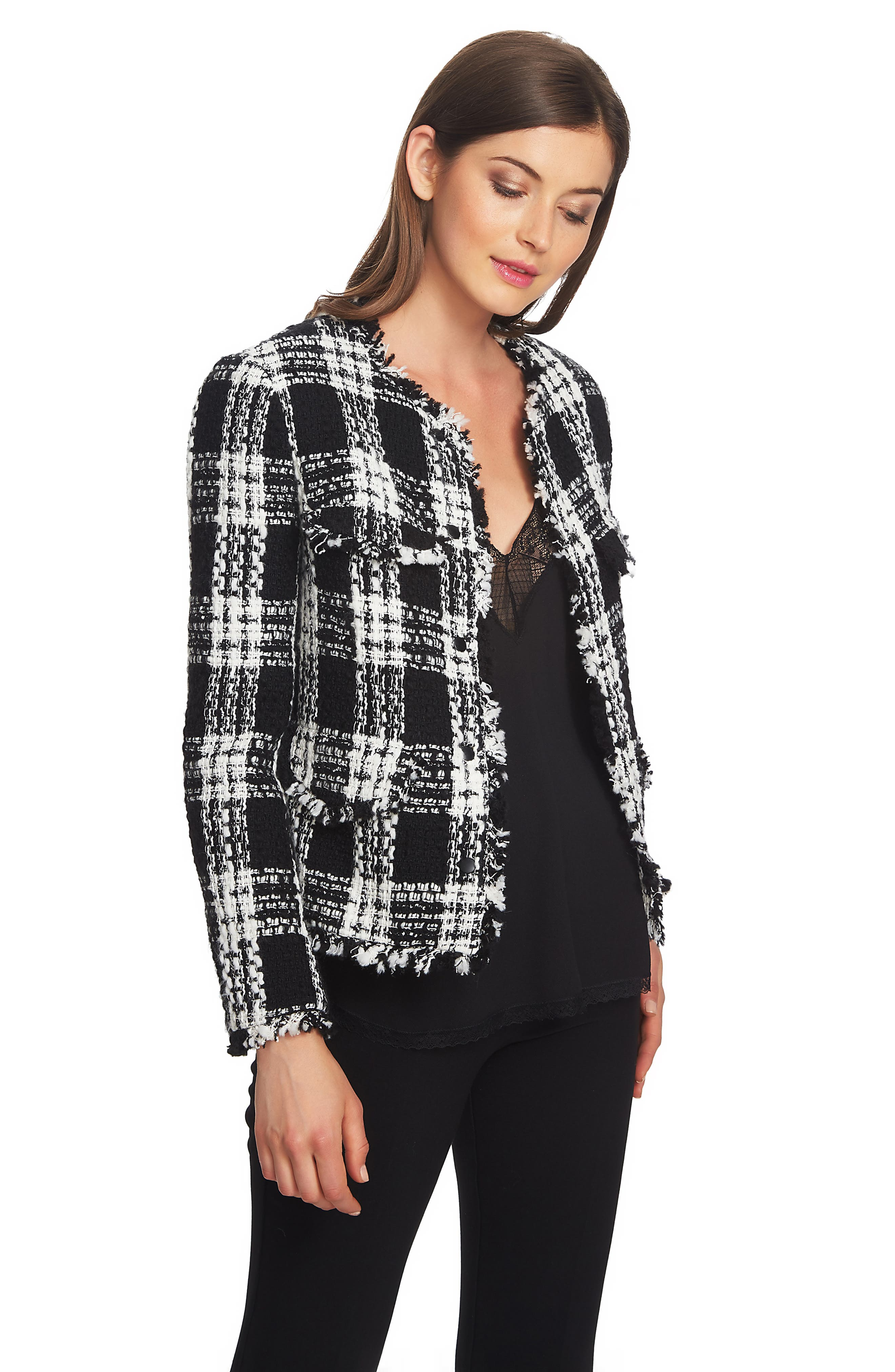 Raw Edge Plaid Tweed Jacket,                             Alternate thumbnail 3, color,                             006