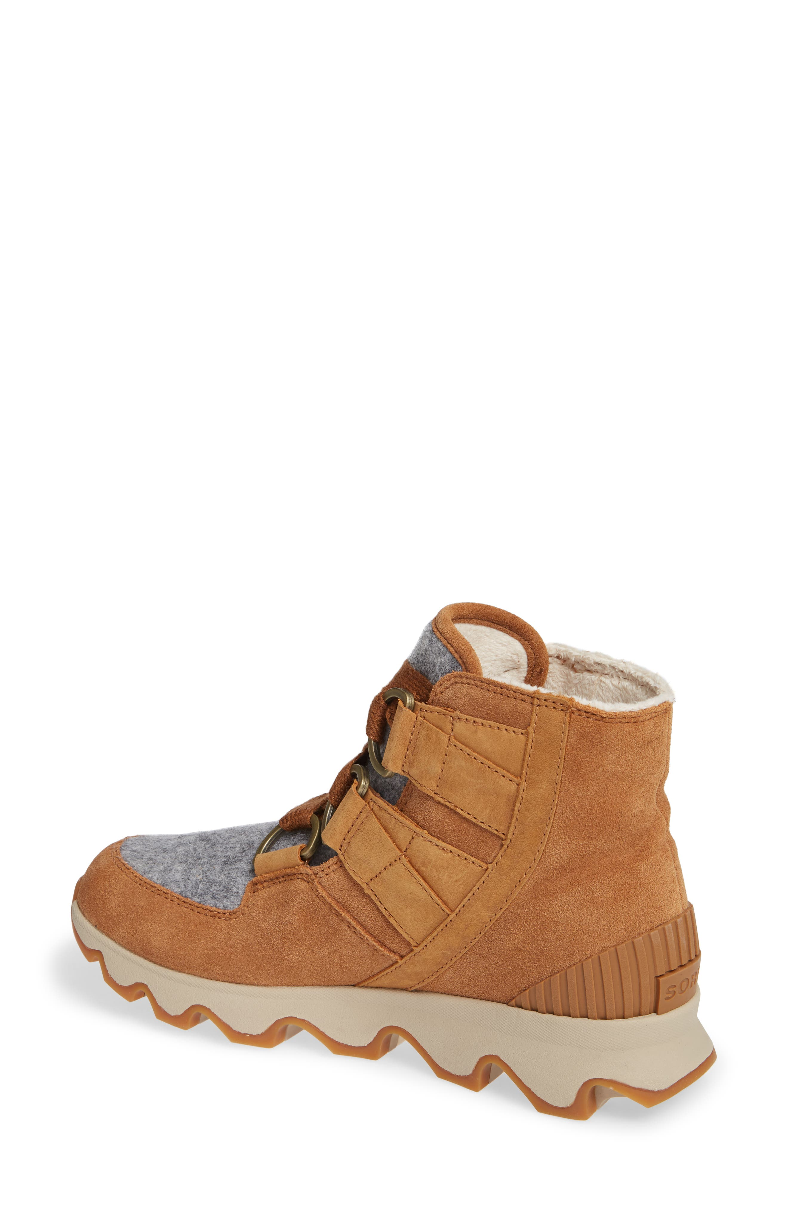 Kinetic Waterproof Short Lace-Up Boot,                             Alternate thumbnail 2, color,                             CAMEL BROWN