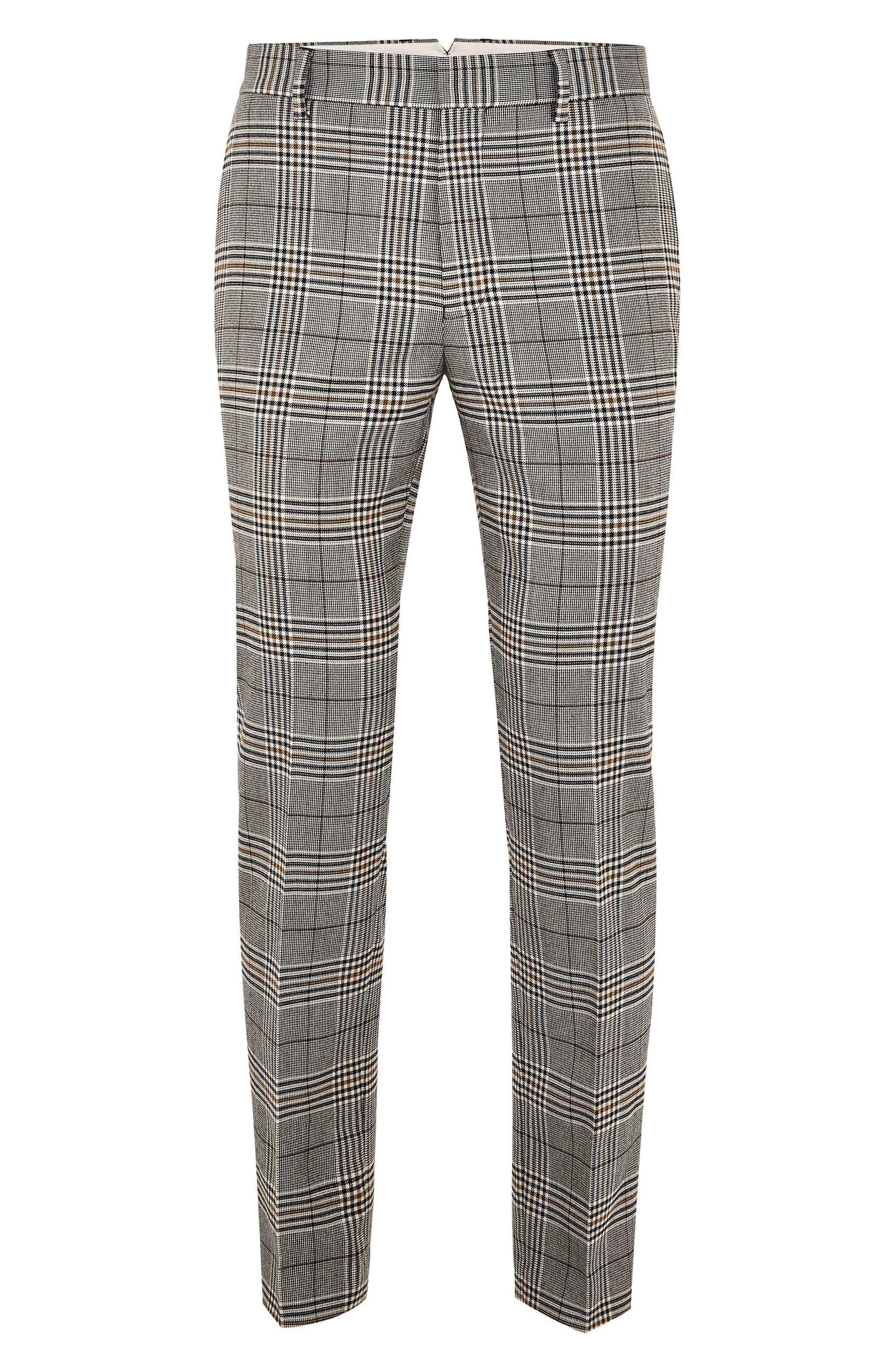Dapple Check Skinny Trousers,                         Main,                         color, STONE MULTI
