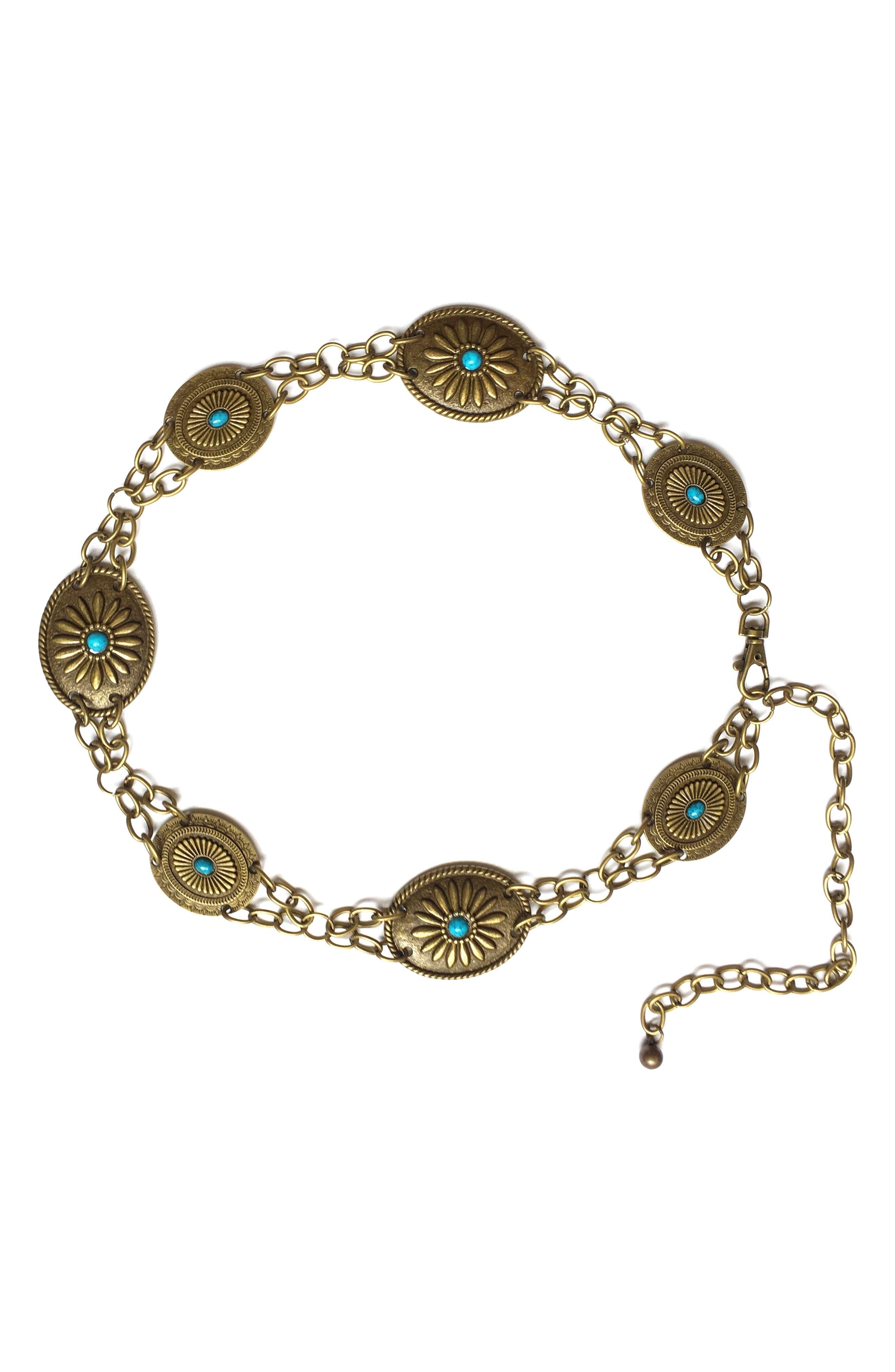 Camilla Genuine Turquoise Chain Belt,                             Main thumbnail 2, color,
