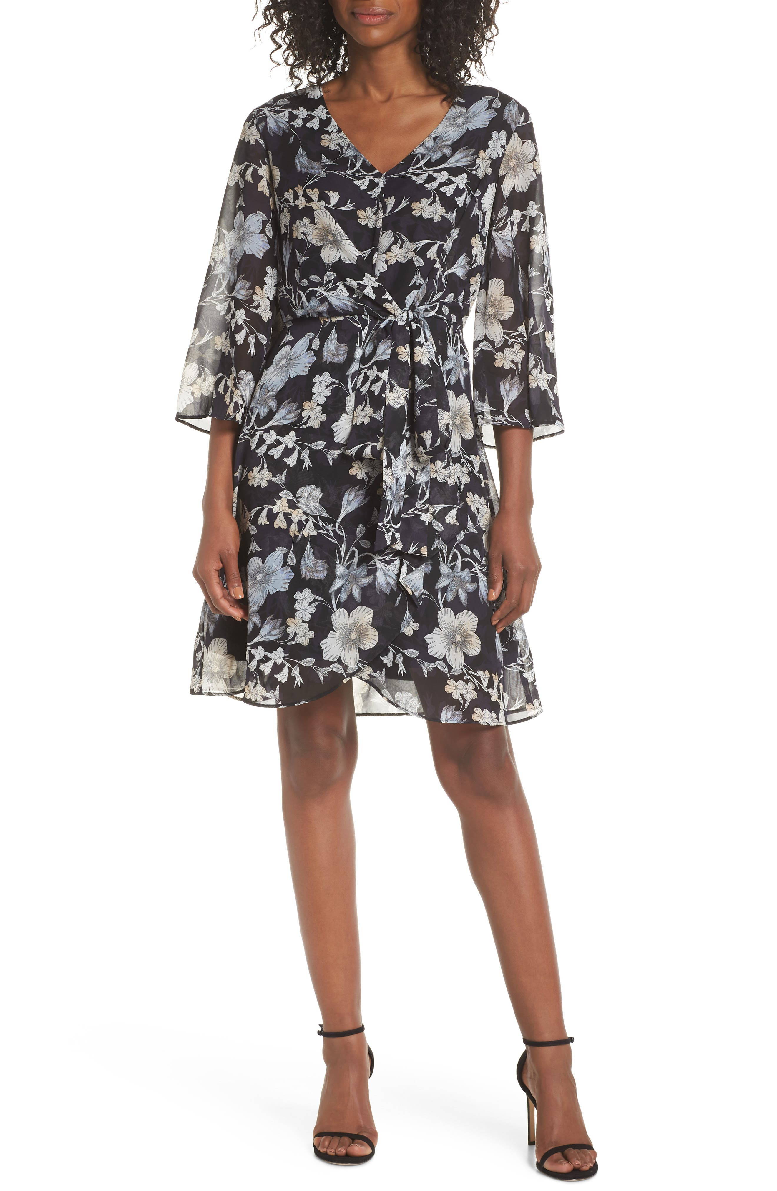Julia Jordan Tie Front Chiffon Dress, Black