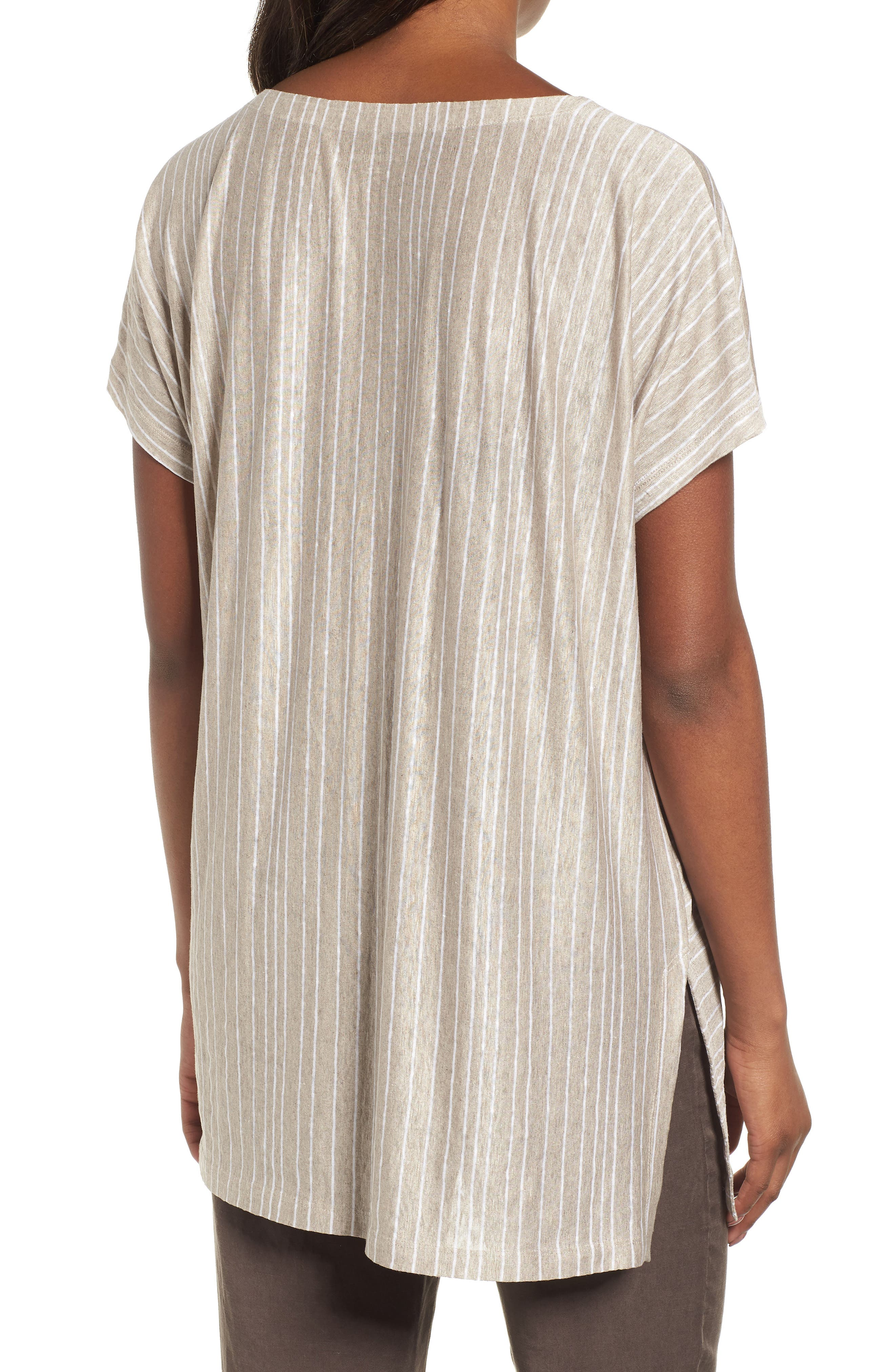 Stripe Organic Linen Tunic,                             Alternate thumbnail 4, color,