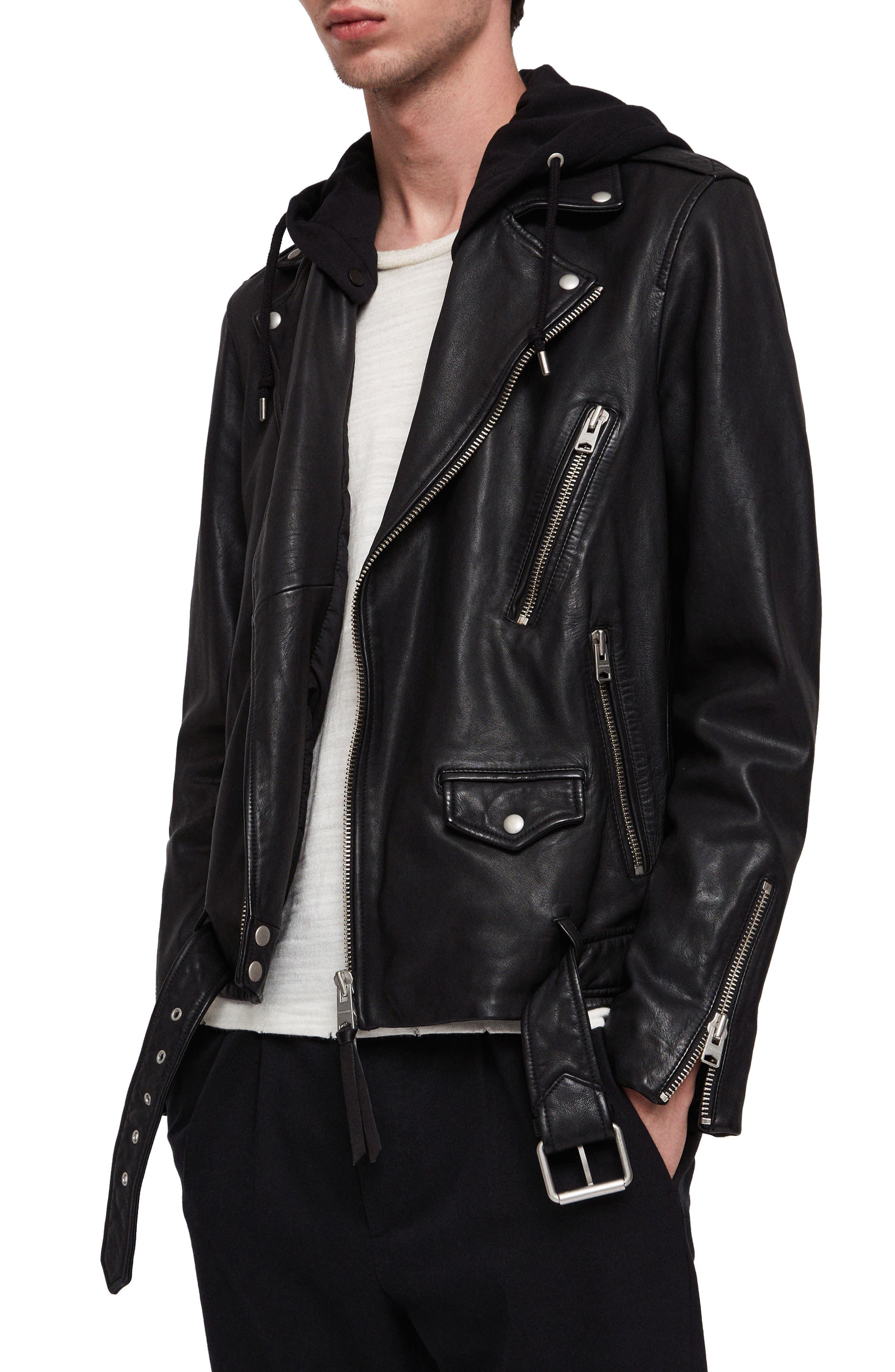 Renzo Slim Fit Leather Biker Jacket,                             Alternate thumbnail 3, color,                             BLACK
