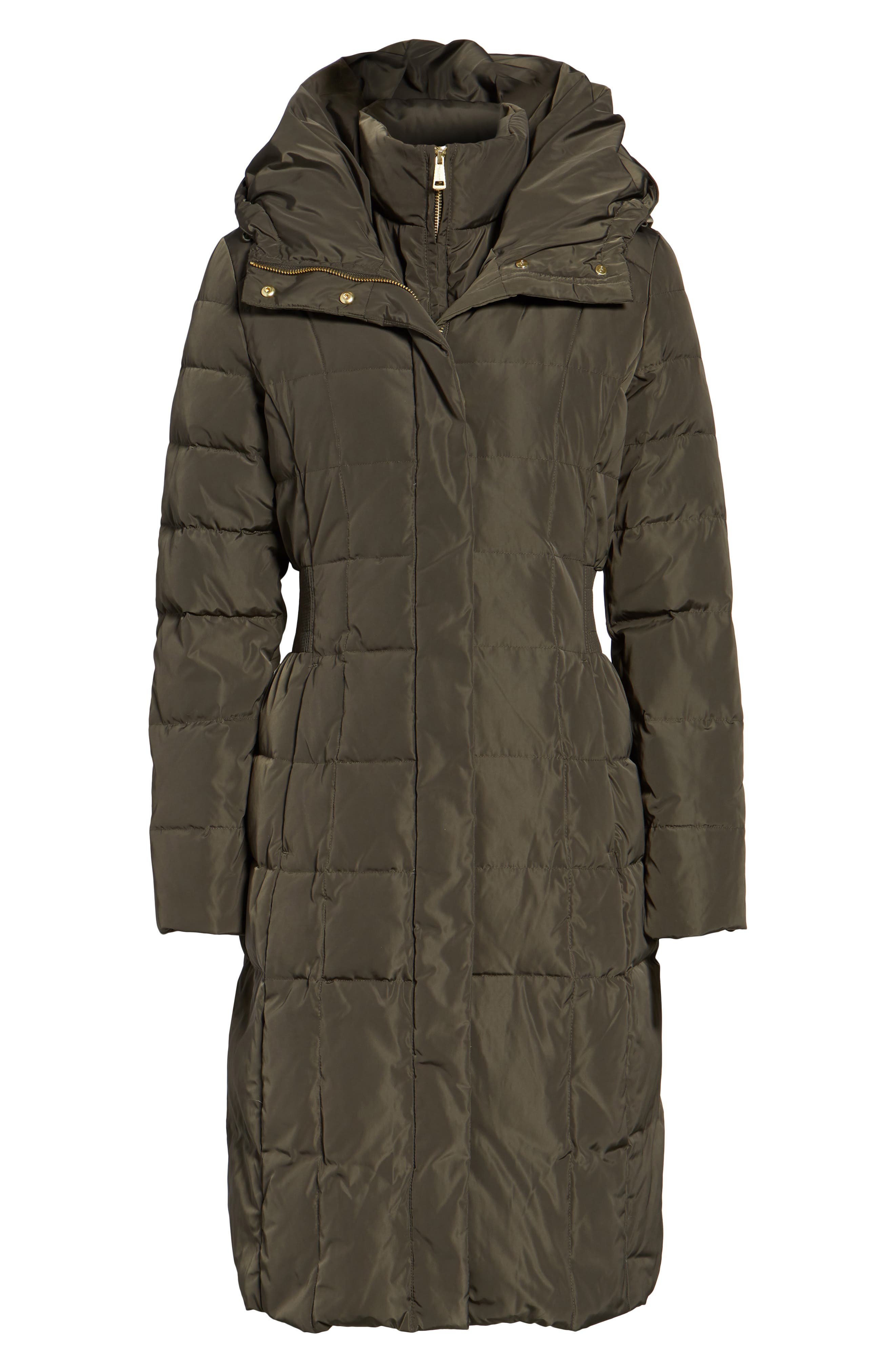 Cole Haan Bib Insert Down & Feather Fill Coat,                             Alternate thumbnail 6, color,                             FOREST