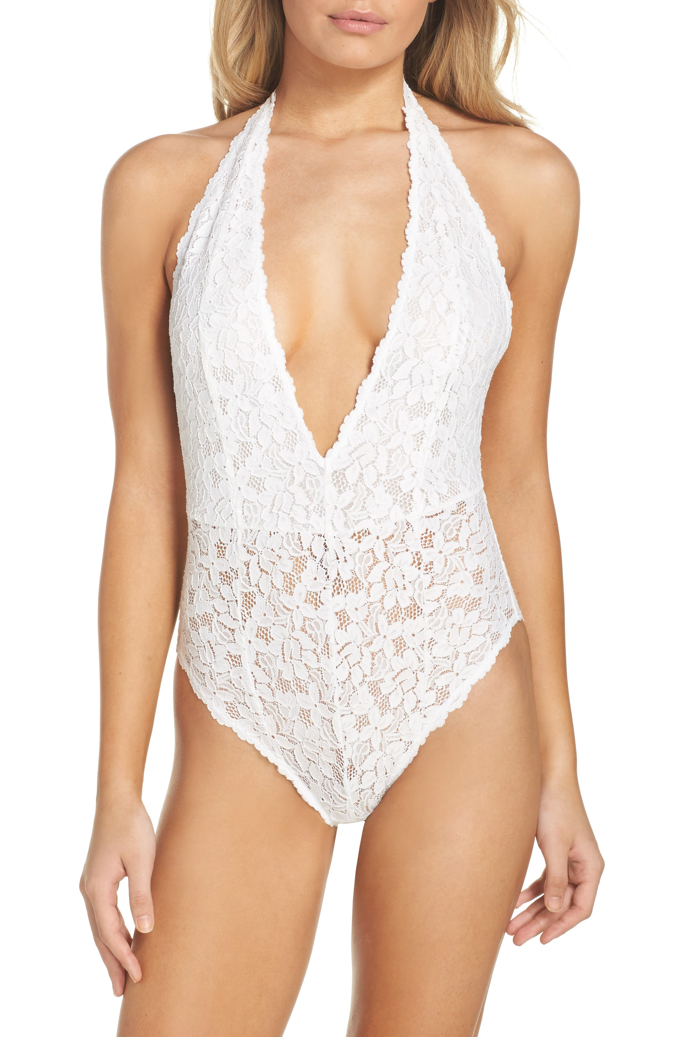 Intimately FP Avery Lace Bodysuit,                         Main,                         color, WHITE