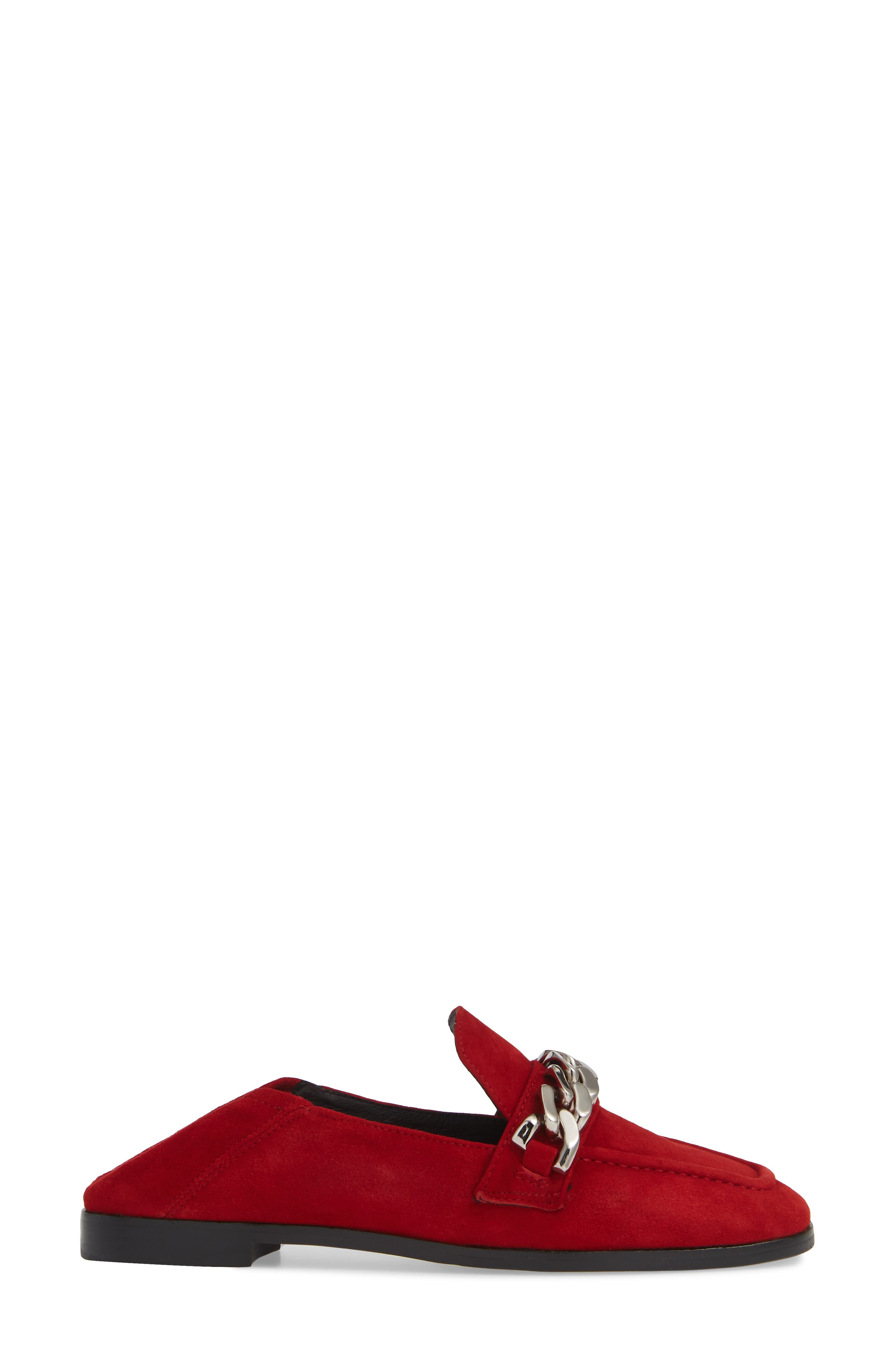 Jesse Convertible Heel Loafer,                             Alternate thumbnail 4, color,                             RED SUEDE SILVER