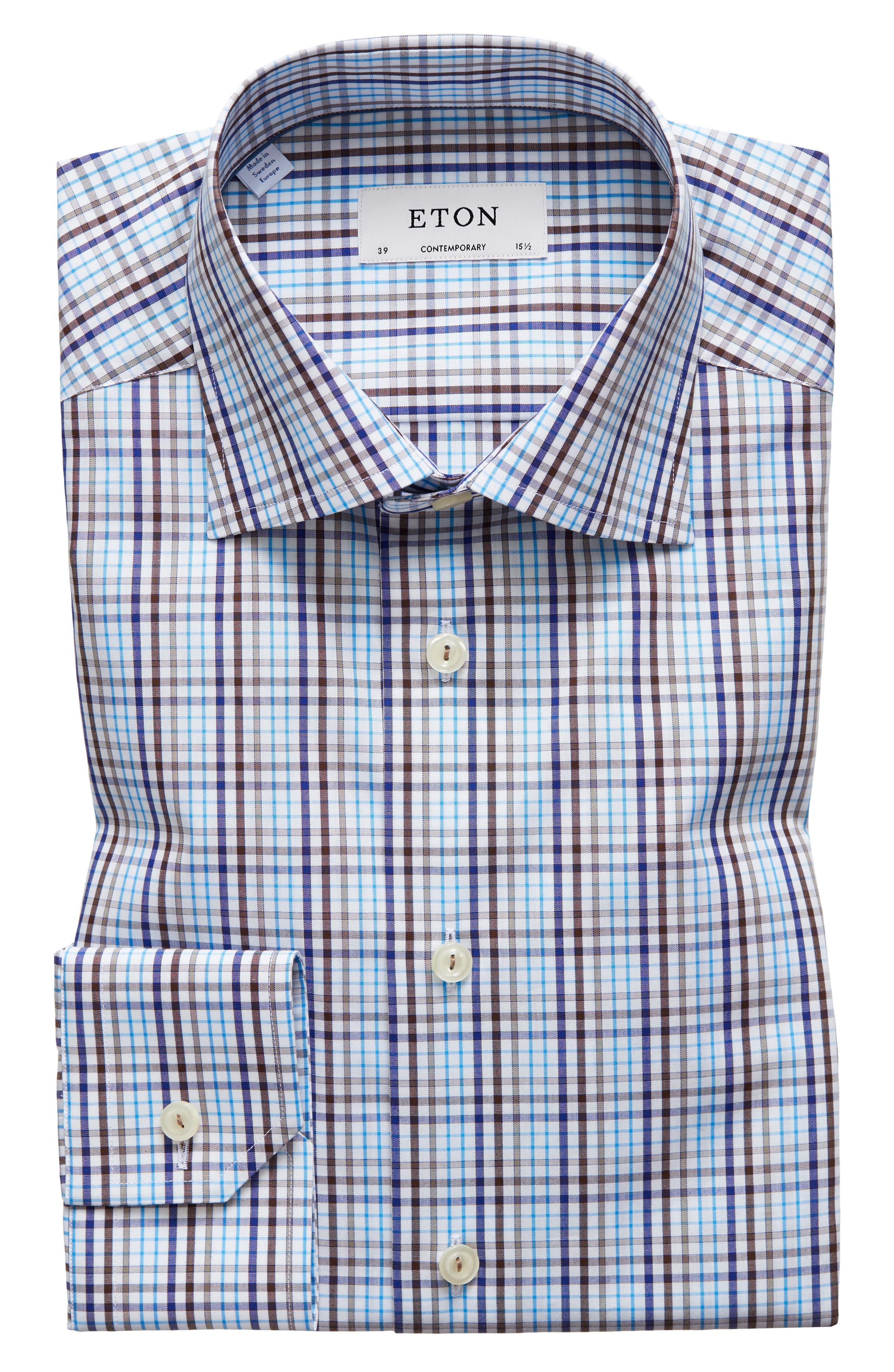 Contemporary Fit Check Dress Shirt,                             Alternate thumbnail 5, color,                             MULTI