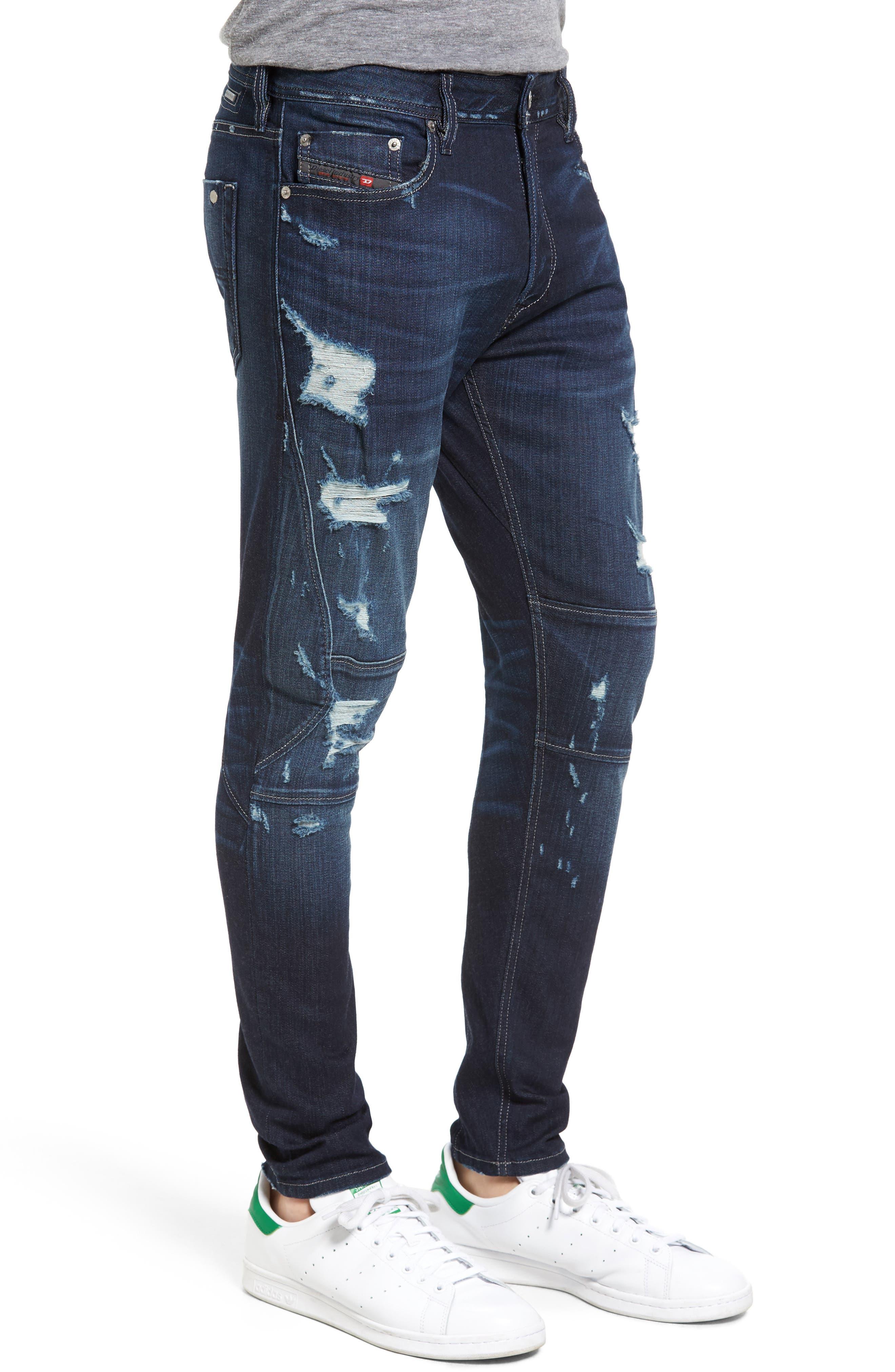 T-Ride Skinny Fit Moto Jeans,                             Alternate thumbnail 3, color,                             400