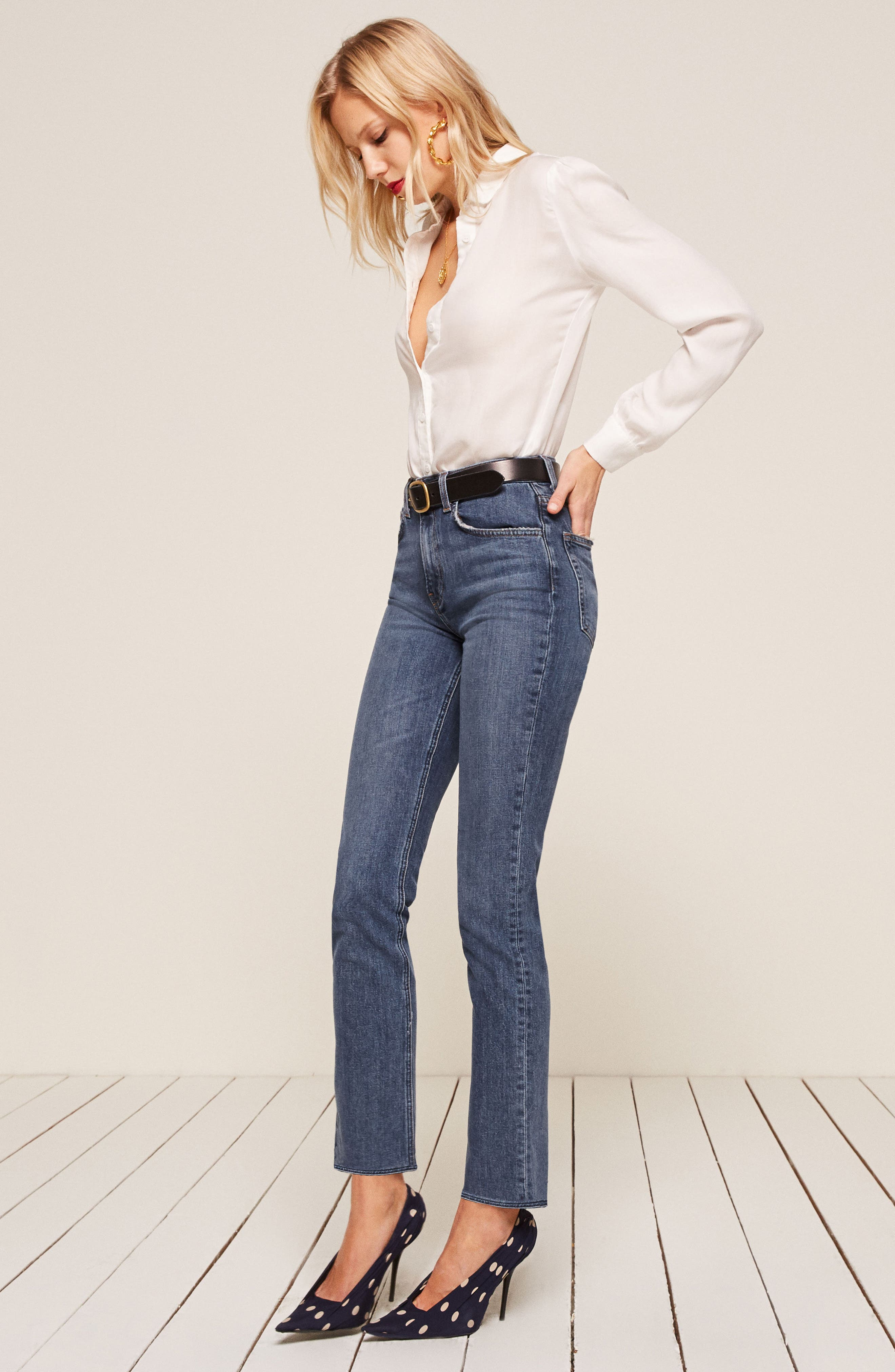 Liza High Waist Straight Leg Jeans,                             Alternate thumbnail 4, color,                             KASAI