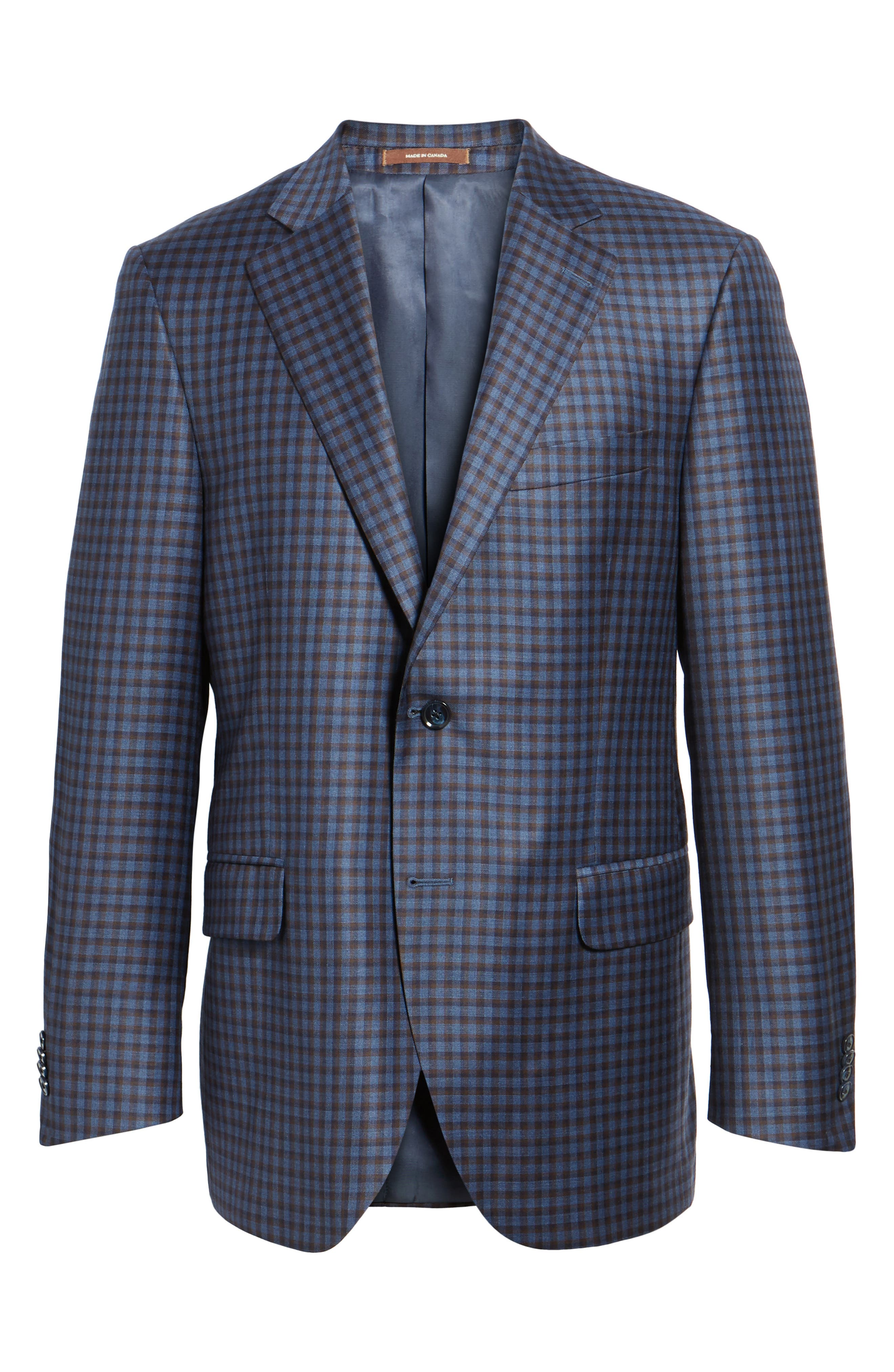 Classic Fit Check Wool Sport Coat,                             Alternate thumbnail 5, color,                             400