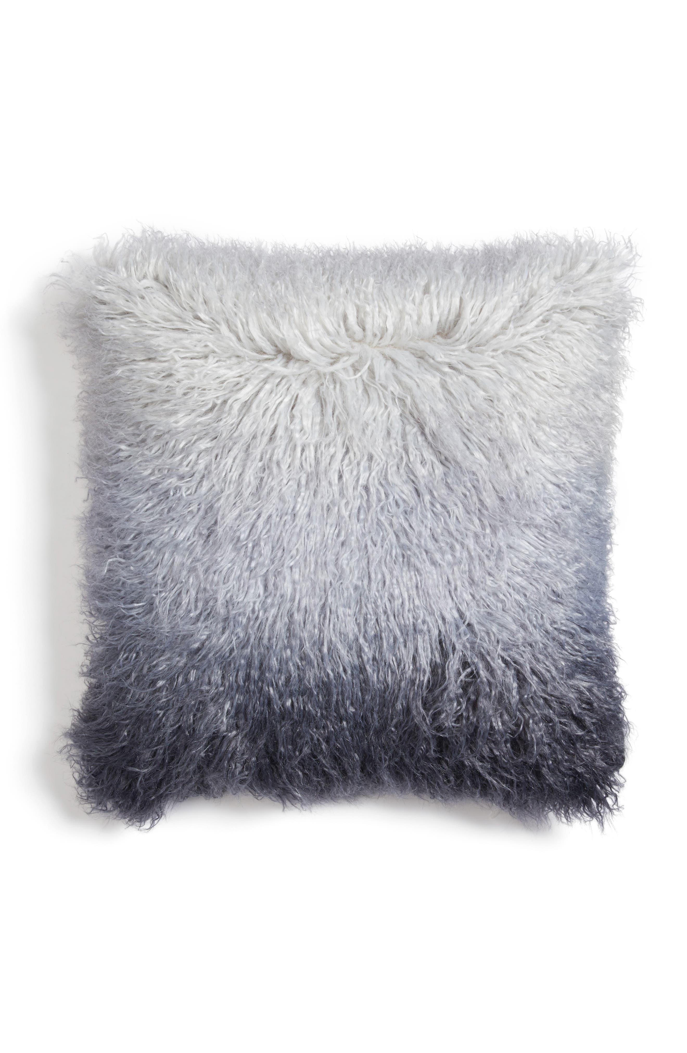 Ombré Faux Fur Flokati Accent Pillow,                             Main thumbnail 3, color,