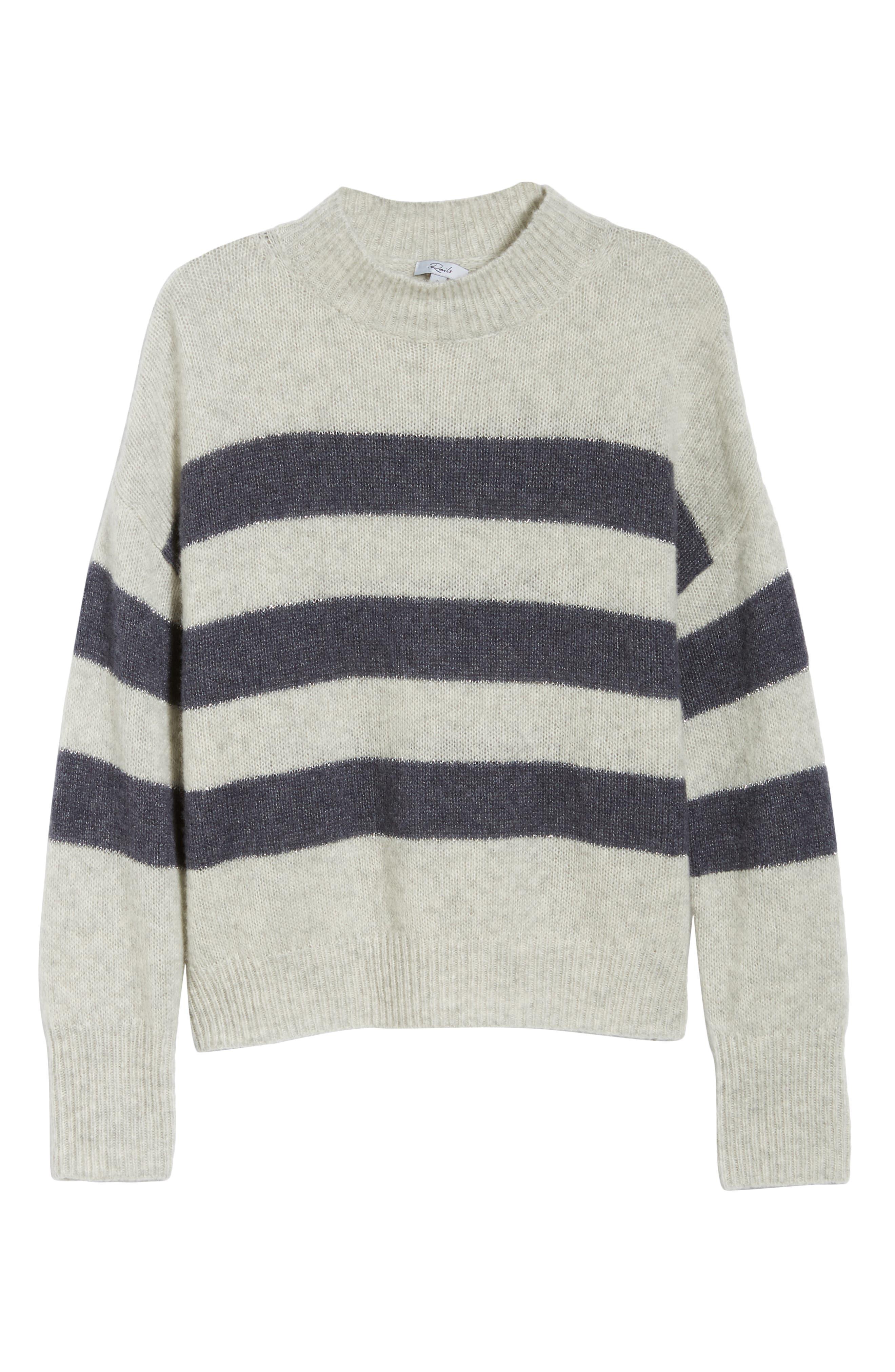 Ellise Stripe Silk & Cashmere Blend Sweater,                             Alternate thumbnail 7, color,                             MIST INDIGO