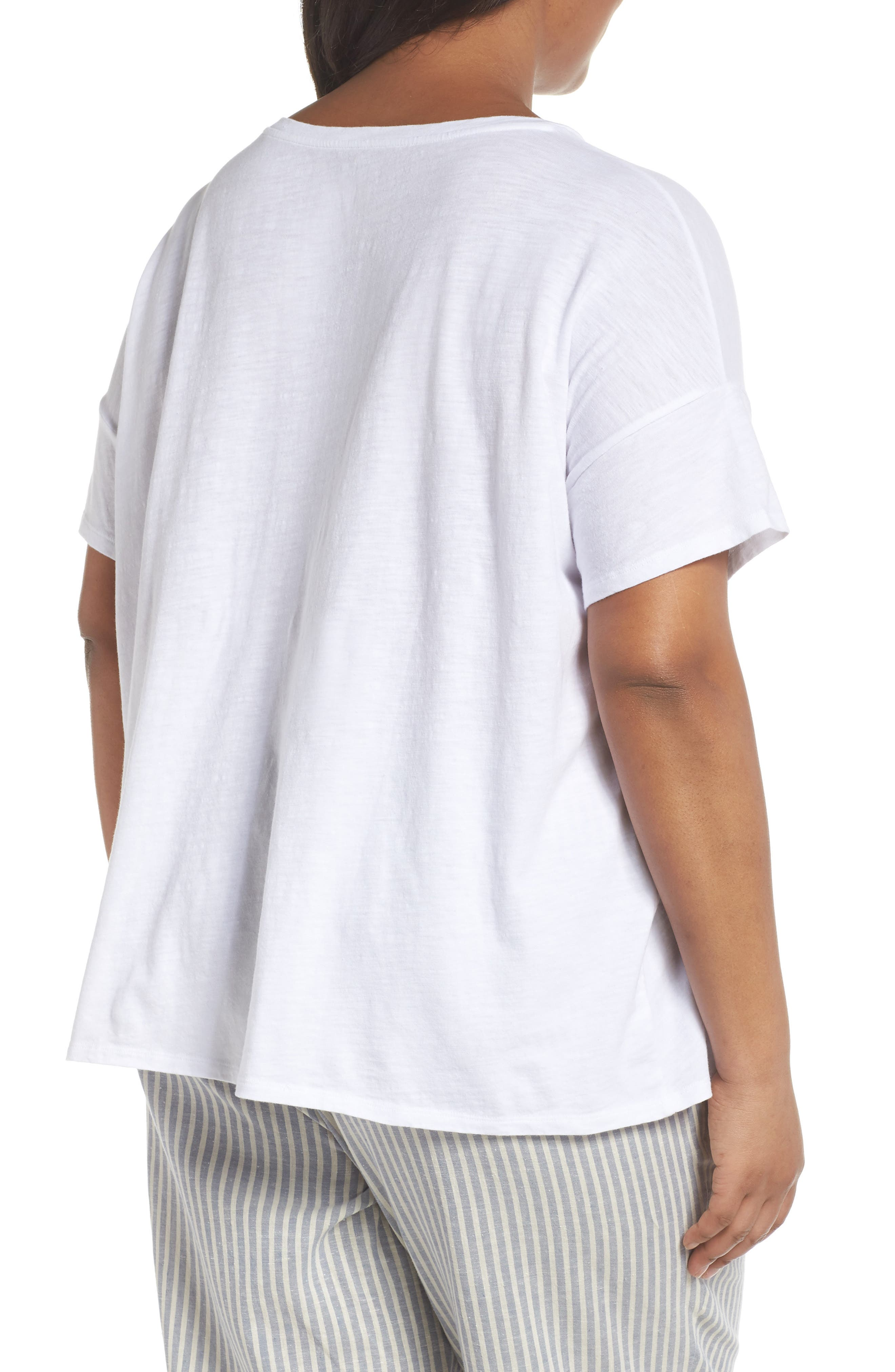 Tie Hem Organic Cotton Tee,                             Alternate thumbnail 2, color,                             100