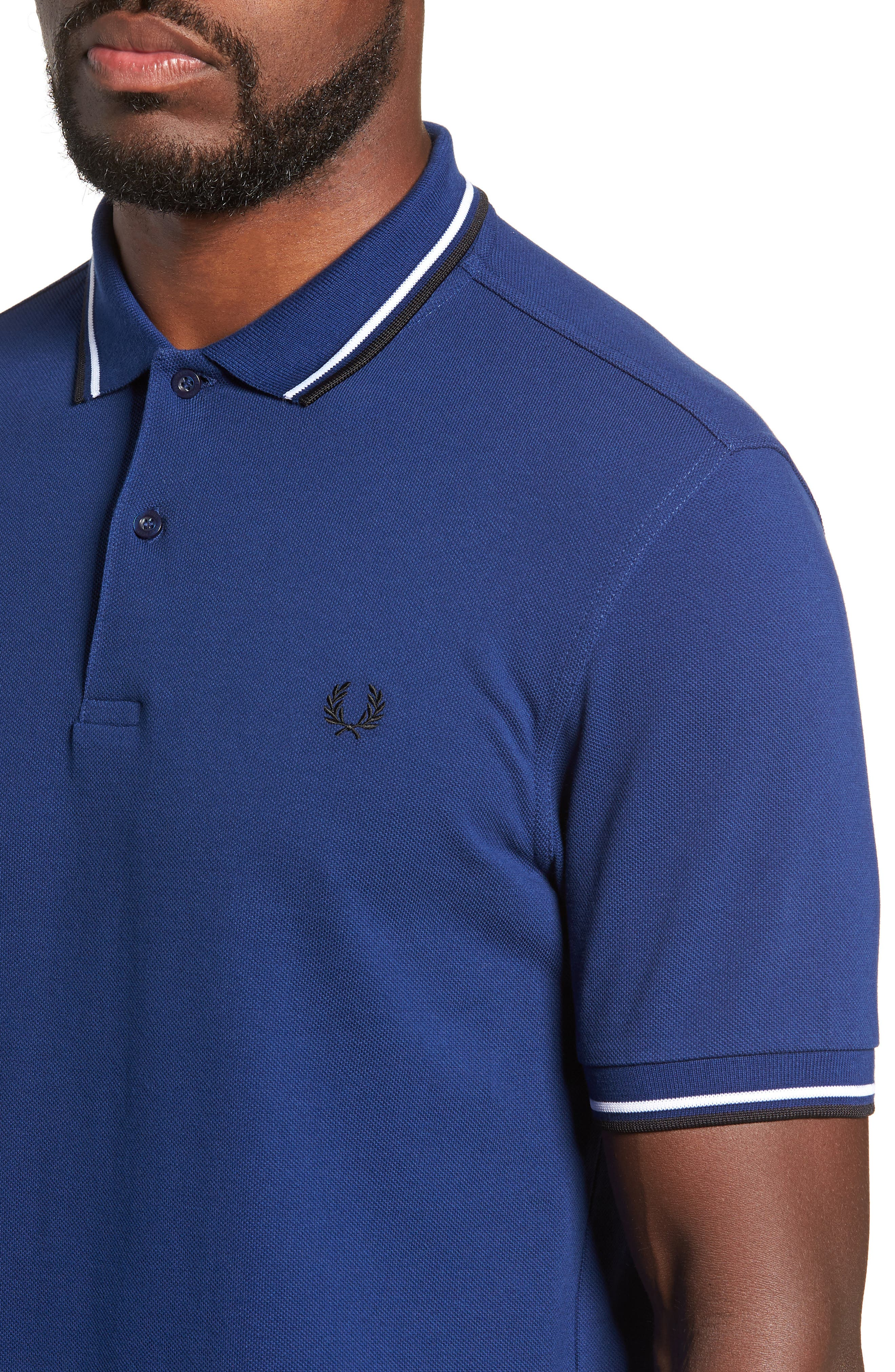 Extra Trim Fit Twin Tipped Piqué Polo,                             Alternate thumbnail 4, color,                             MEDIEVAL BLUE / WHITE / BLACK