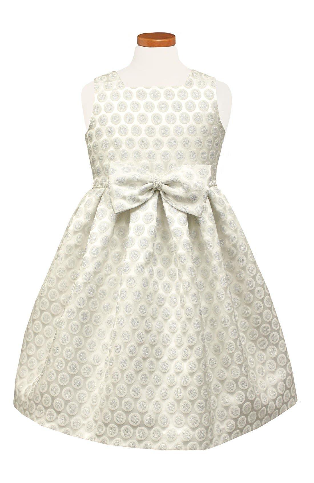 Dot Metallic Brocade Dress,                             Main thumbnail 1, color,                             042
