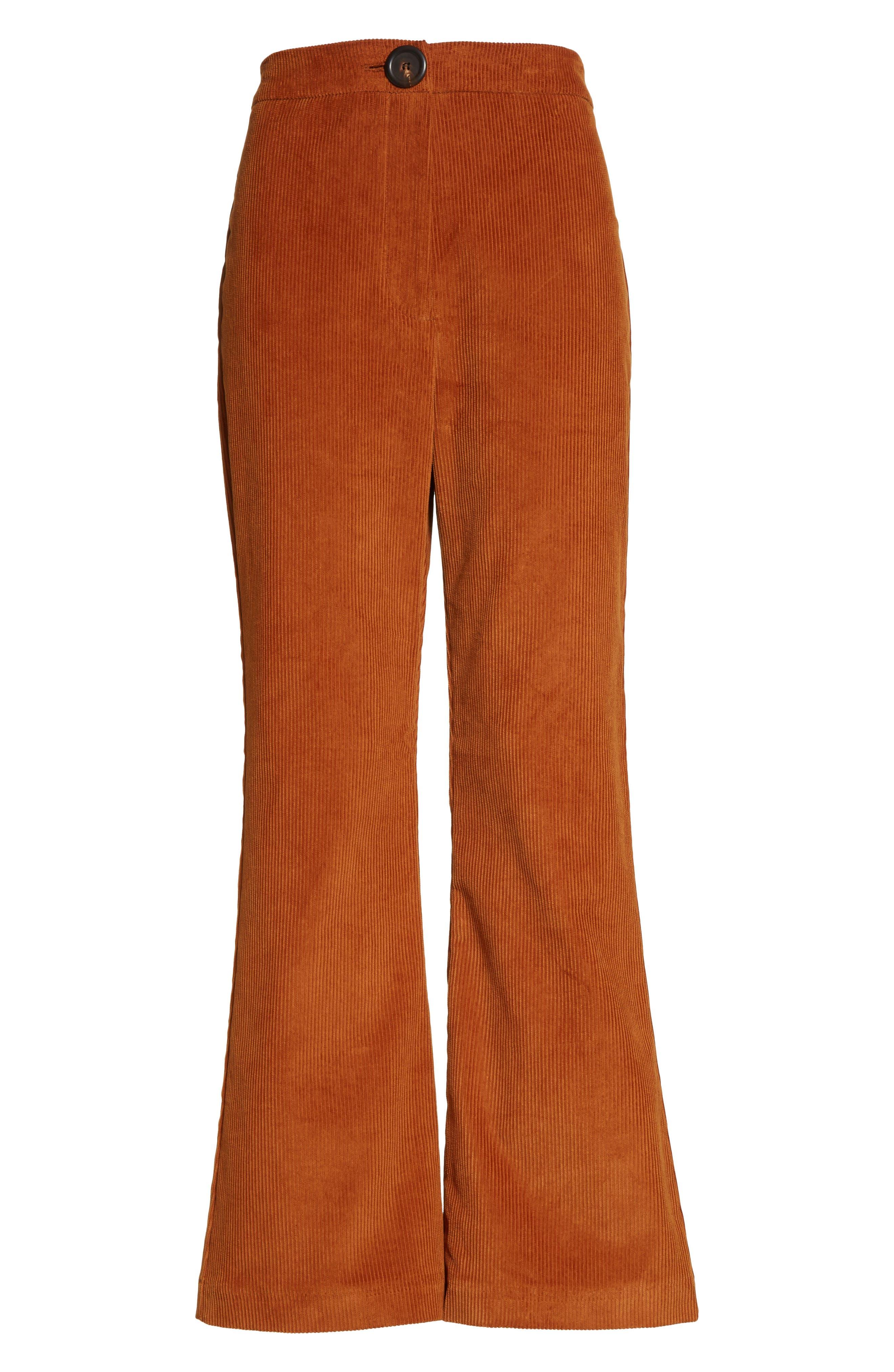 Crop Flare Corduroy Trousers,                             Alternate thumbnail 6, color,                             200