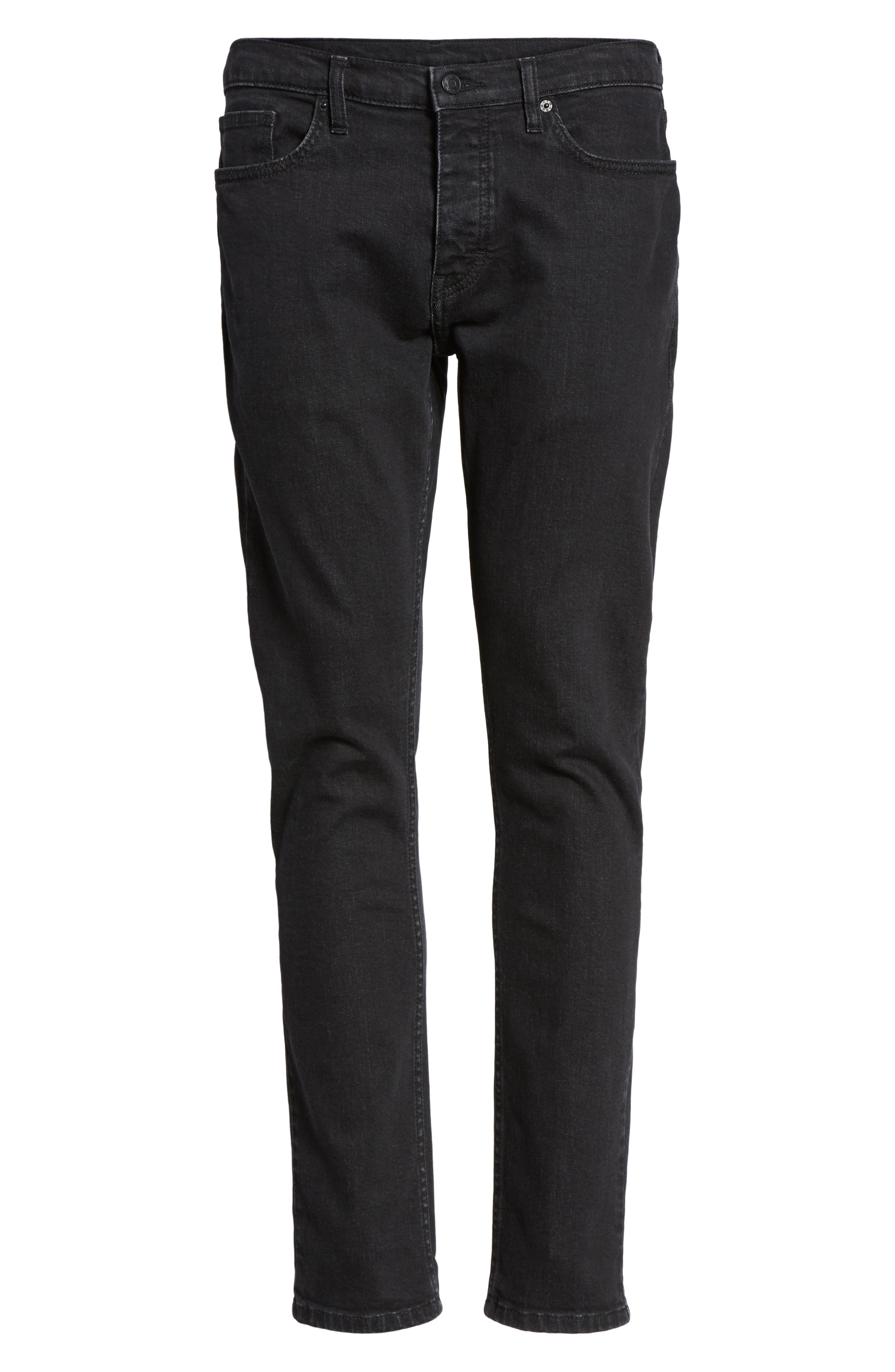 Washed Slim Fit Jeans,                             Alternate thumbnail 6, color,                             001