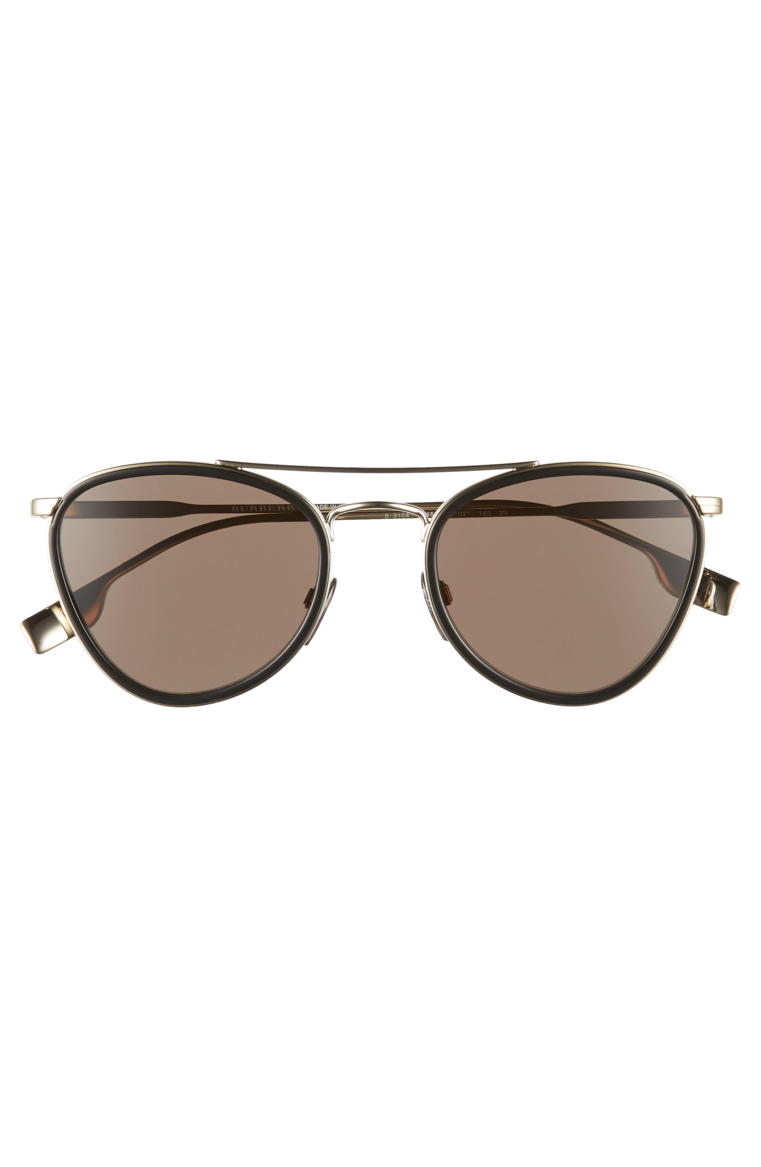 51mm Aviator Sunglasses,                             Alternate thumbnail 3, color,                             BLACK/ GOLD SOLID