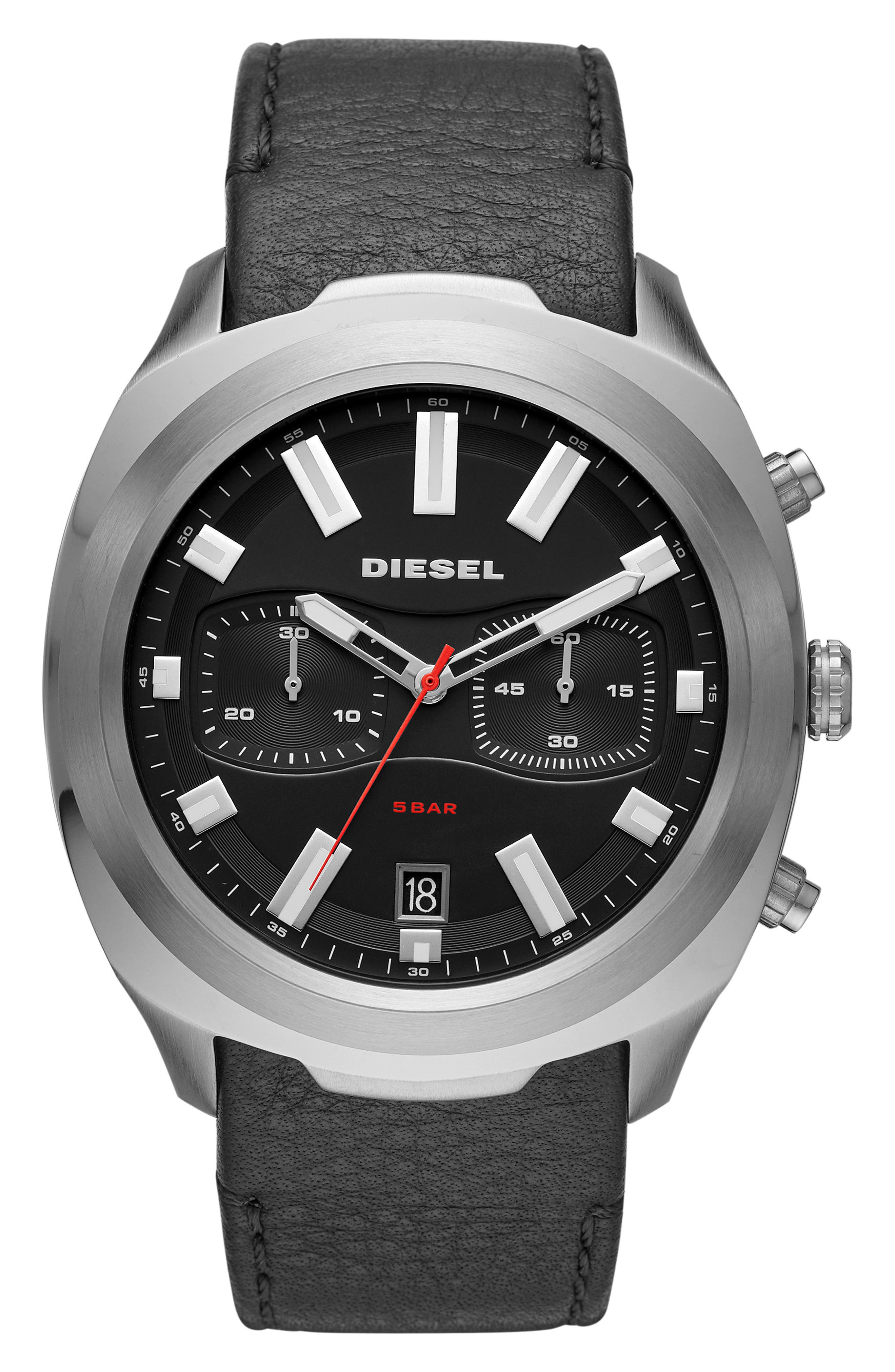 DIESEL<SUP>®</SUP> Tumbler Chronograph Leather Strap Watch, 48mm, Main, color, BLACK