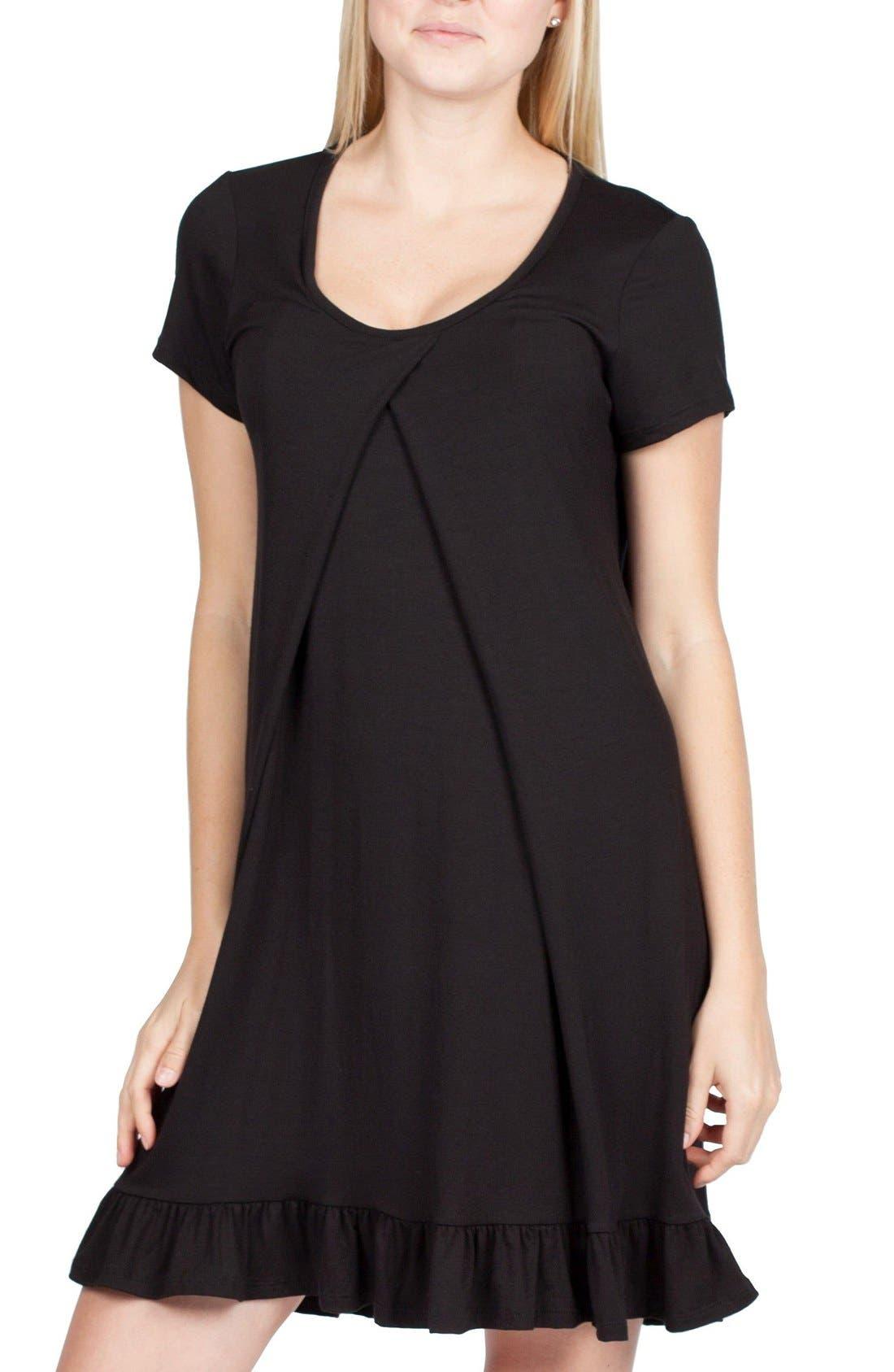 San Francisco Maternity/Nursing Nightgown,                             Alternate thumbnail 4, color,                             BLACK