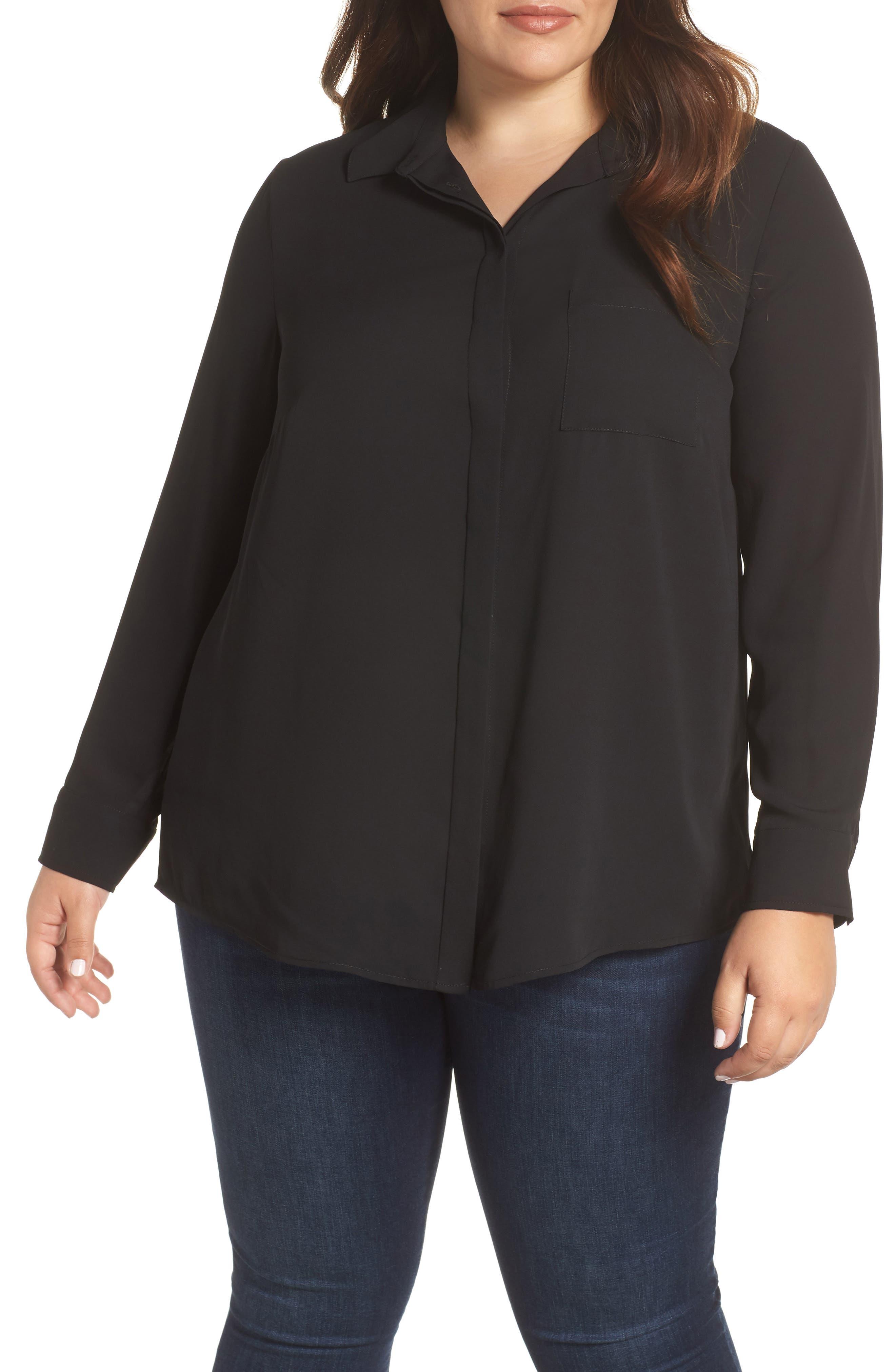 Shirt Collar Blouse,                             Main thumbnail 1, color,                             BLACK