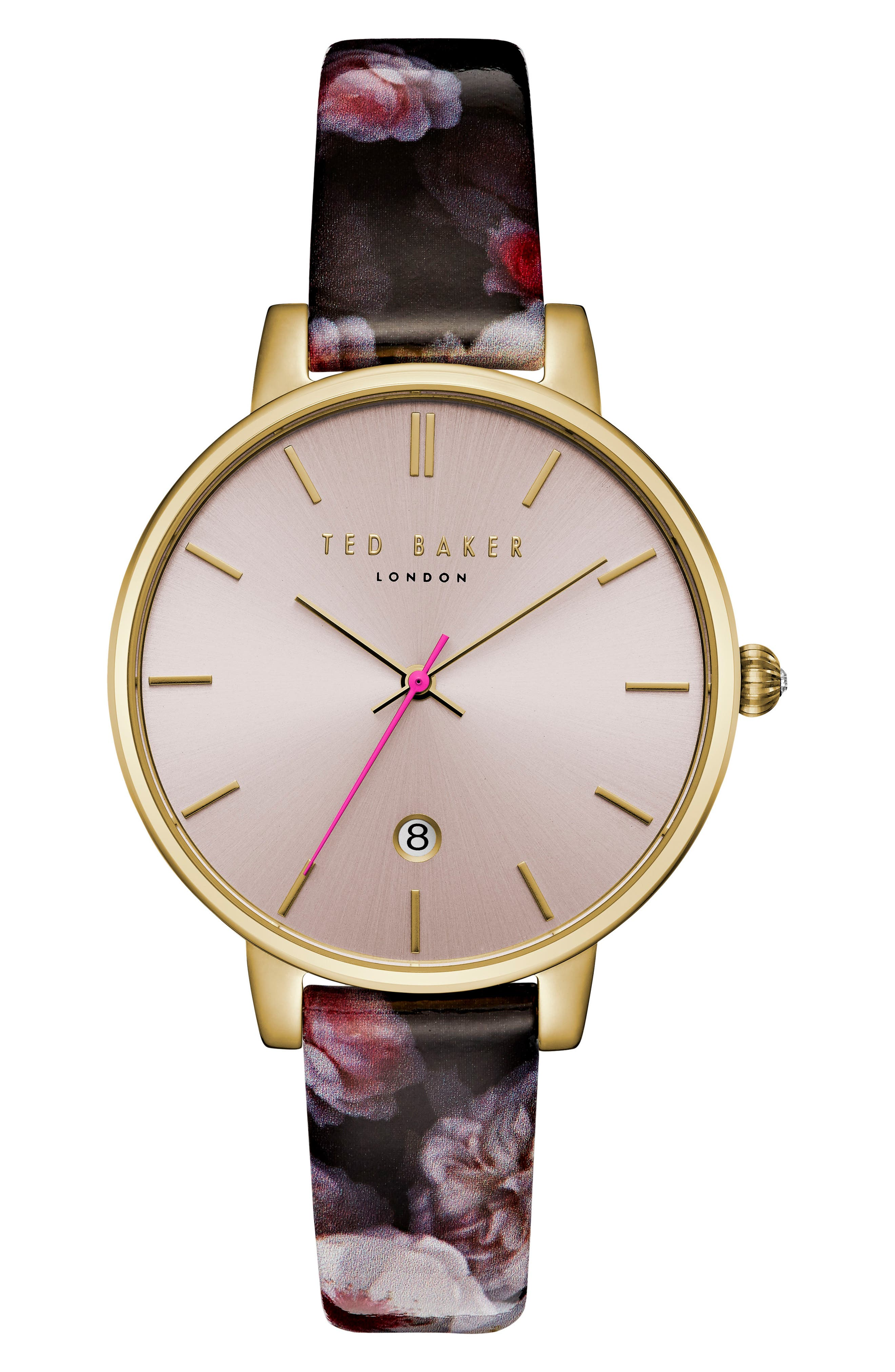 Kate Print Leather Strap Watch, 38mm,                         Main,                         color, 500