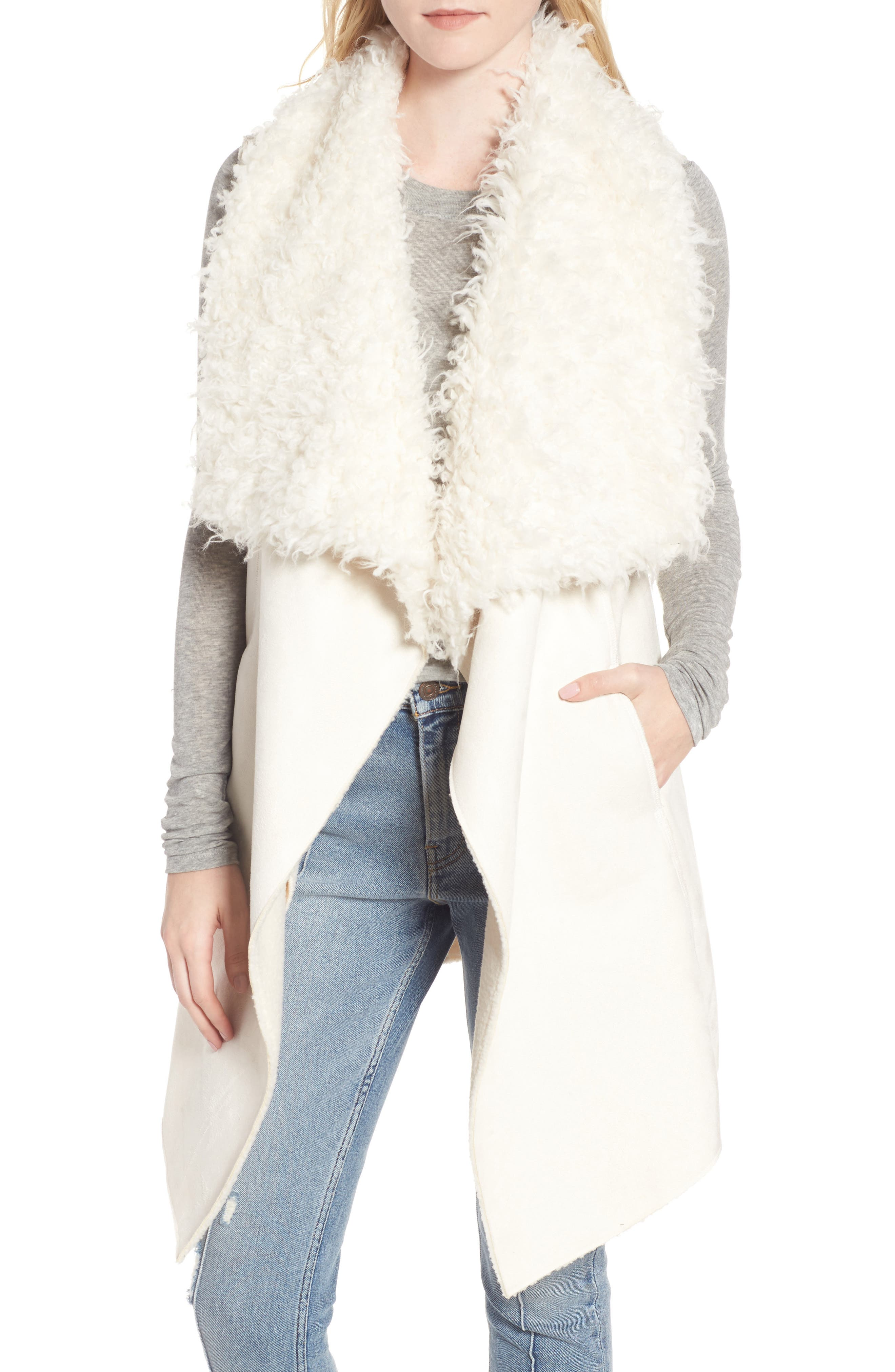 Dawn Maxi Fly Away Faux Shearling Vest,                         Main,                         color, 100