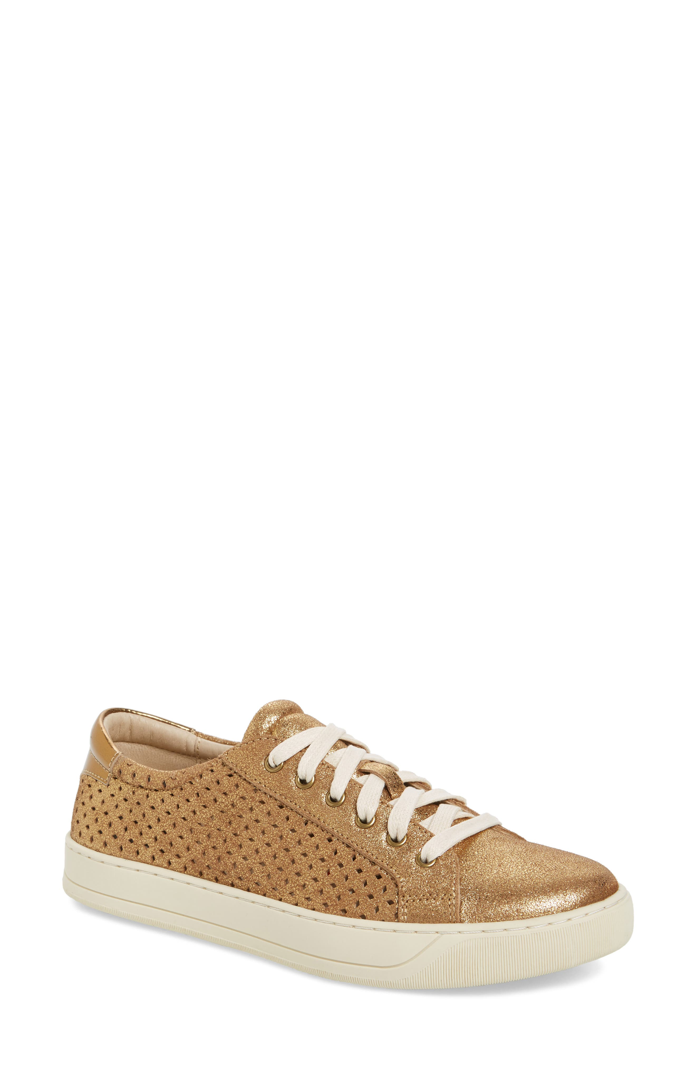 Emerson Perforated Sneaker,                         Main,                         color, GOLD SUEDE