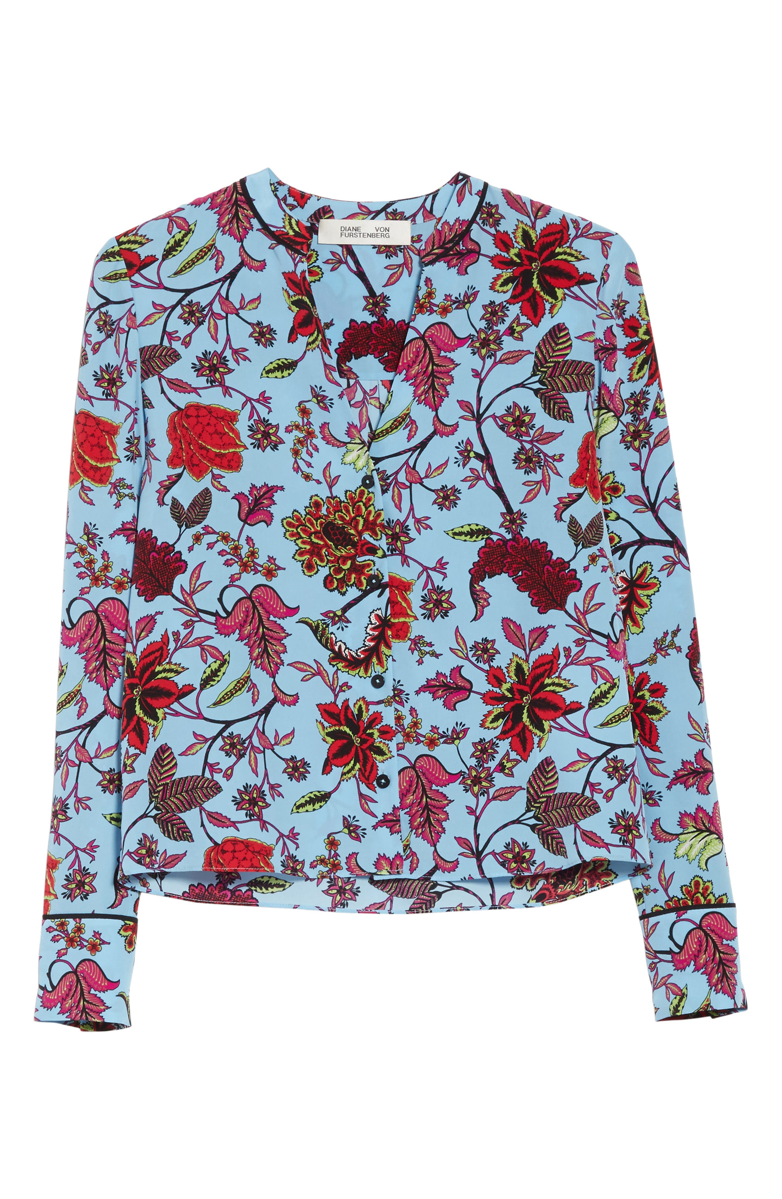 Floral Silk Blouse,                             Alternate thumbnail 6, color,                             457
