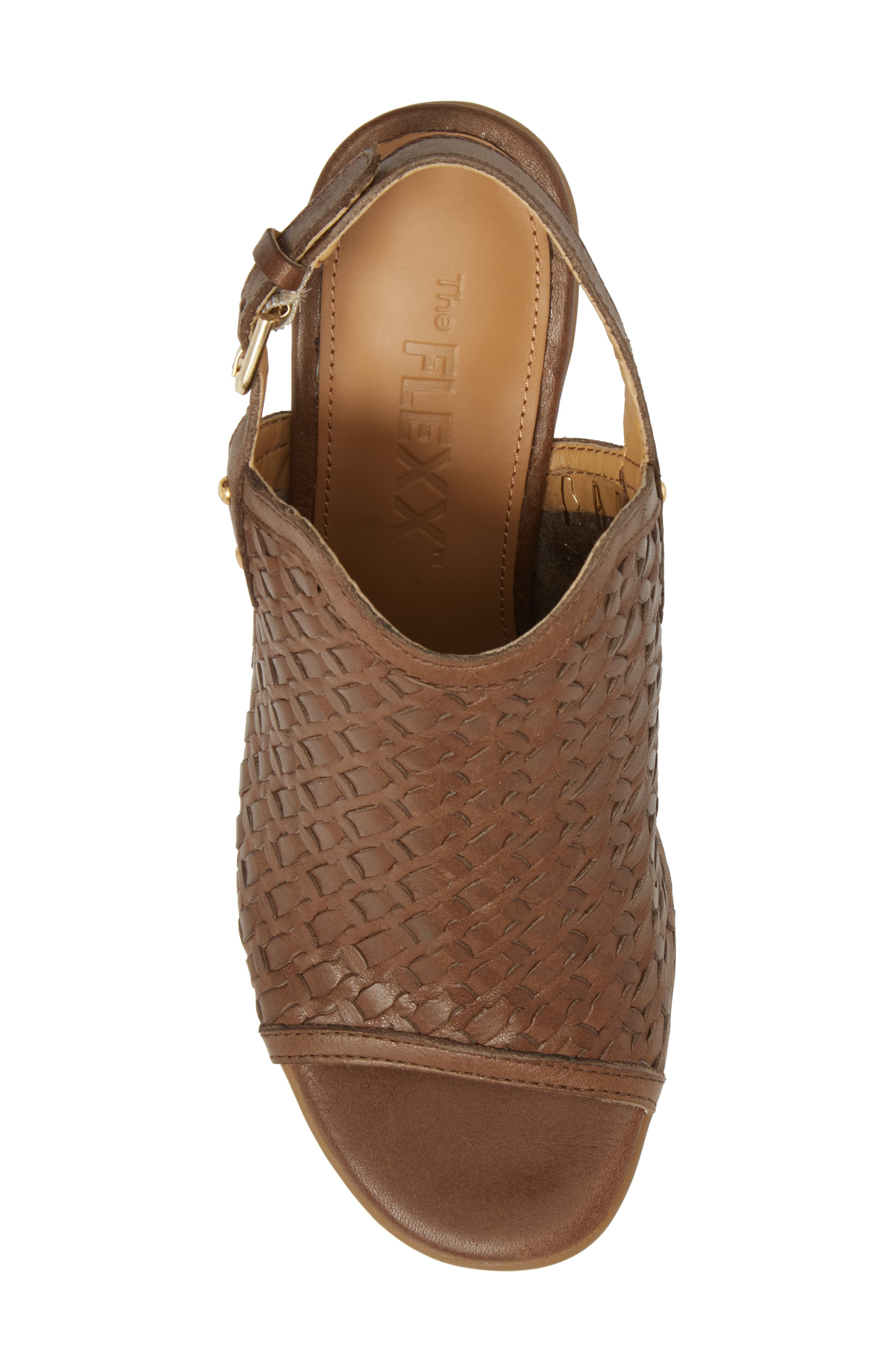 Weave Me Be Slingback Sandal,                             Alternate thumbnail 5, color,                             CHOCOLATE LEATHER