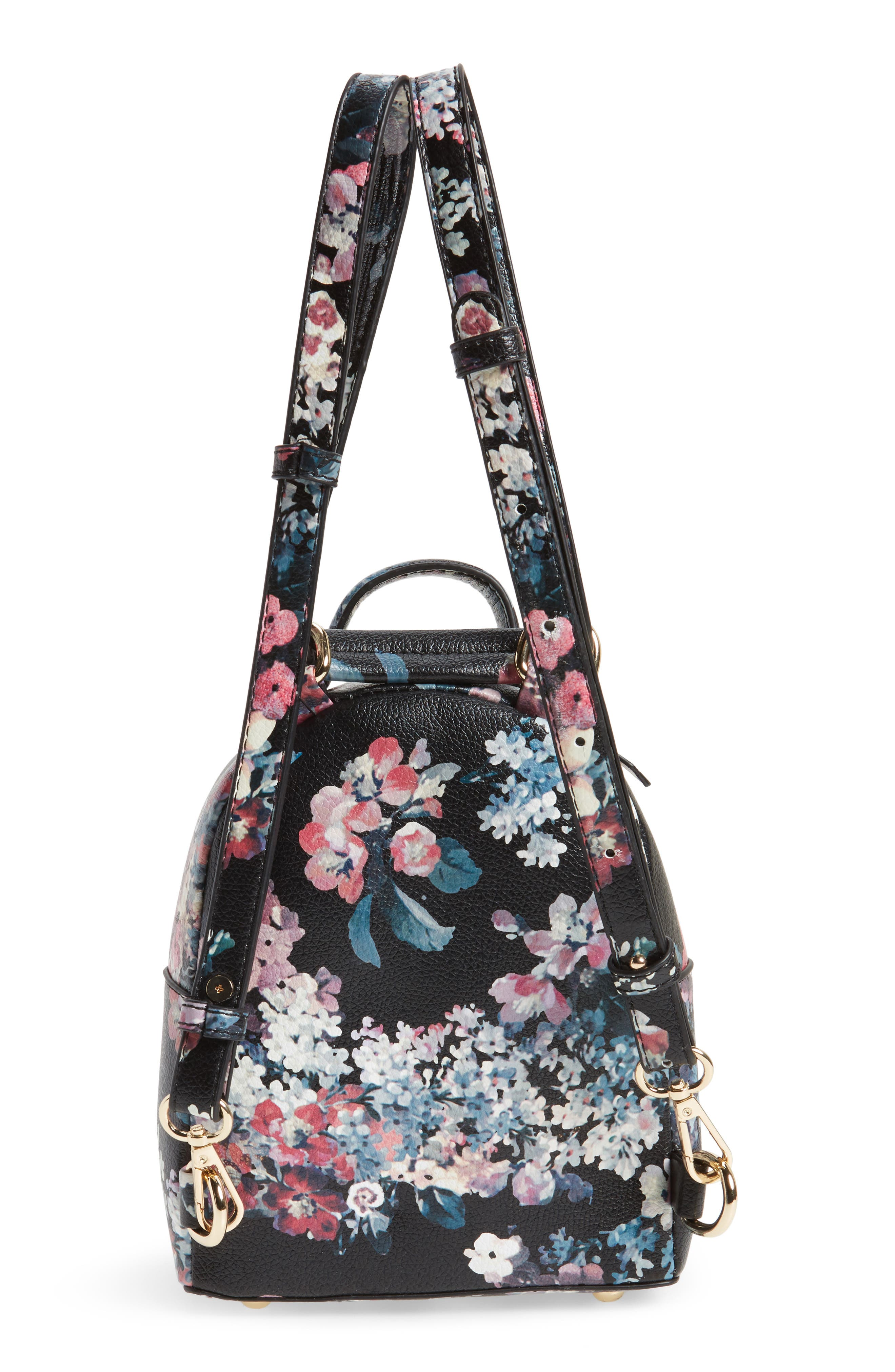 Mini Floral Faux Leather Mini Backpack,                             Alternate thumbnail 3, color,                             002