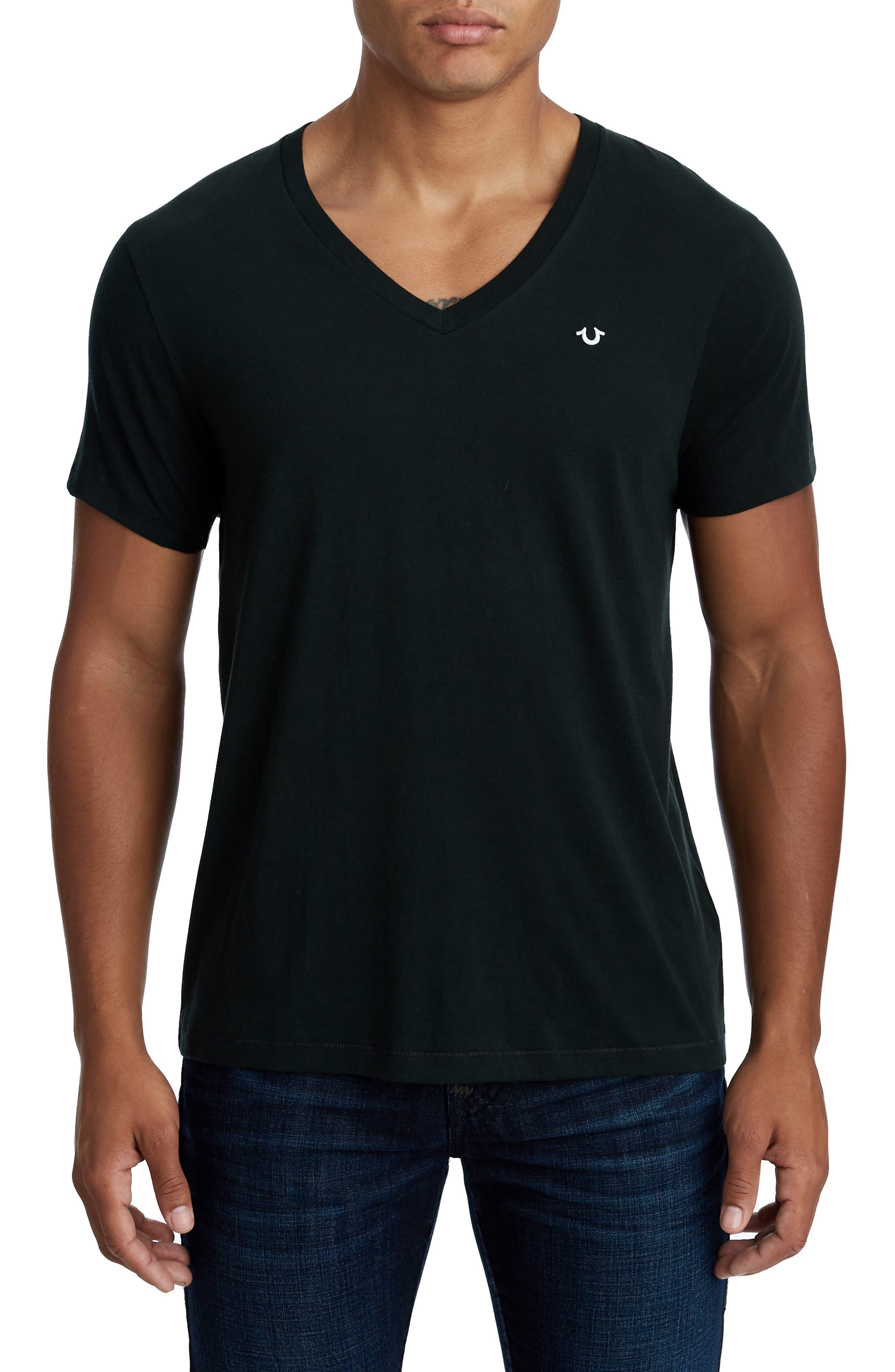 Essentials V-Neck T-Shirt,                         Main,                         color, 001