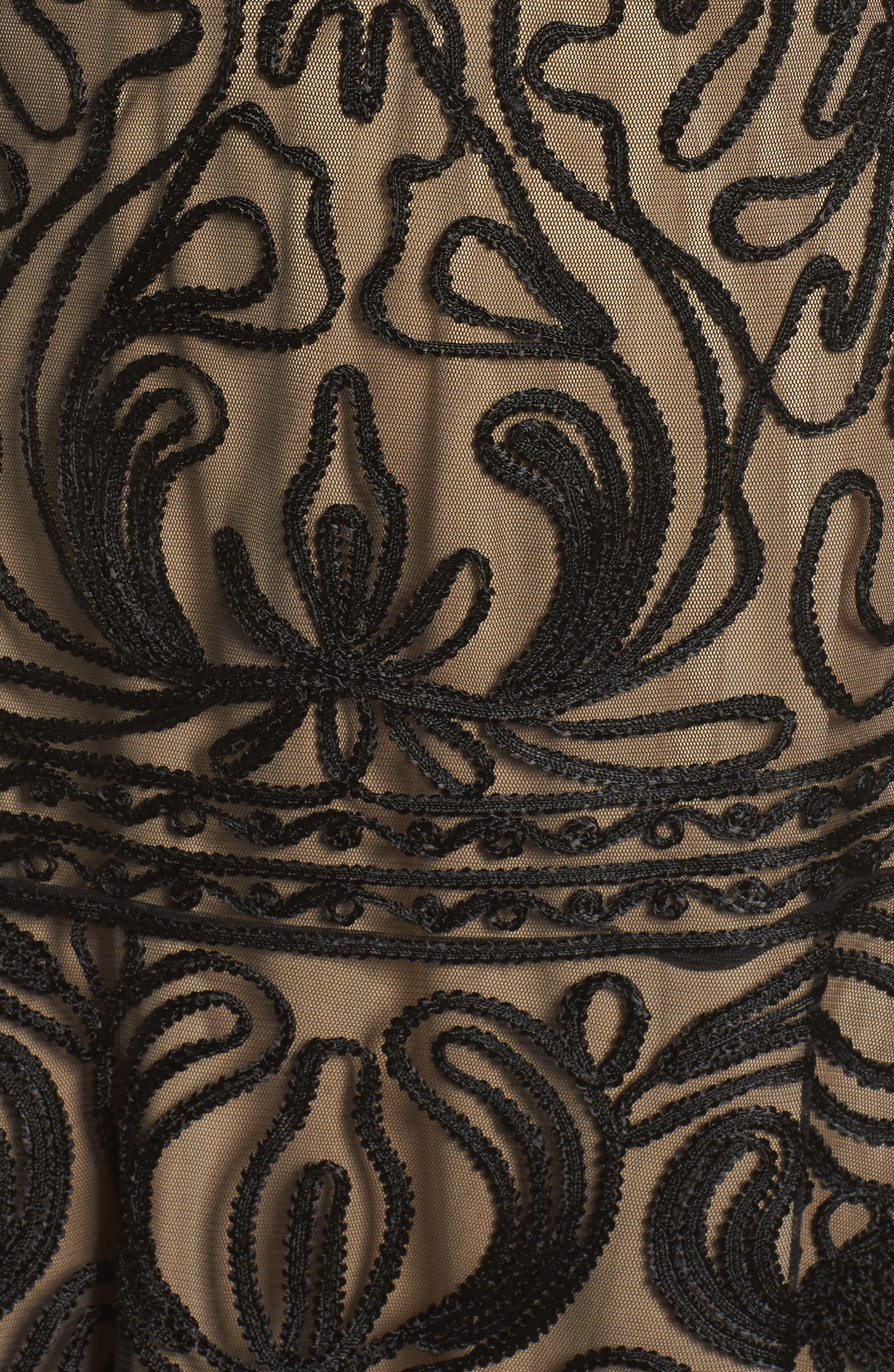 Soutache Fit & Flare Dress,                             Alternate thumbnail 5, color,                             001
