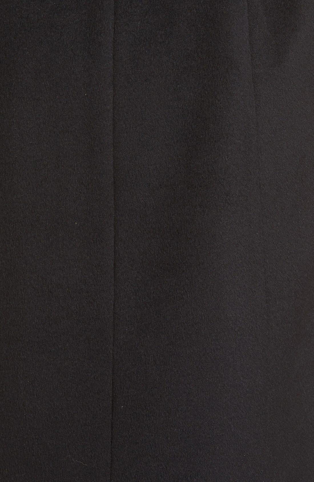 Faux Fur Shawl Collar Wool Blend Wrap Coat,                             Alternate thumbnail 5, color,                             001