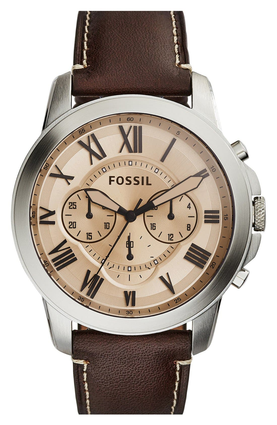 'Grant' Round Chronograph Leather Strap Watch, 44mm,                             Main thumbnail 20, color,