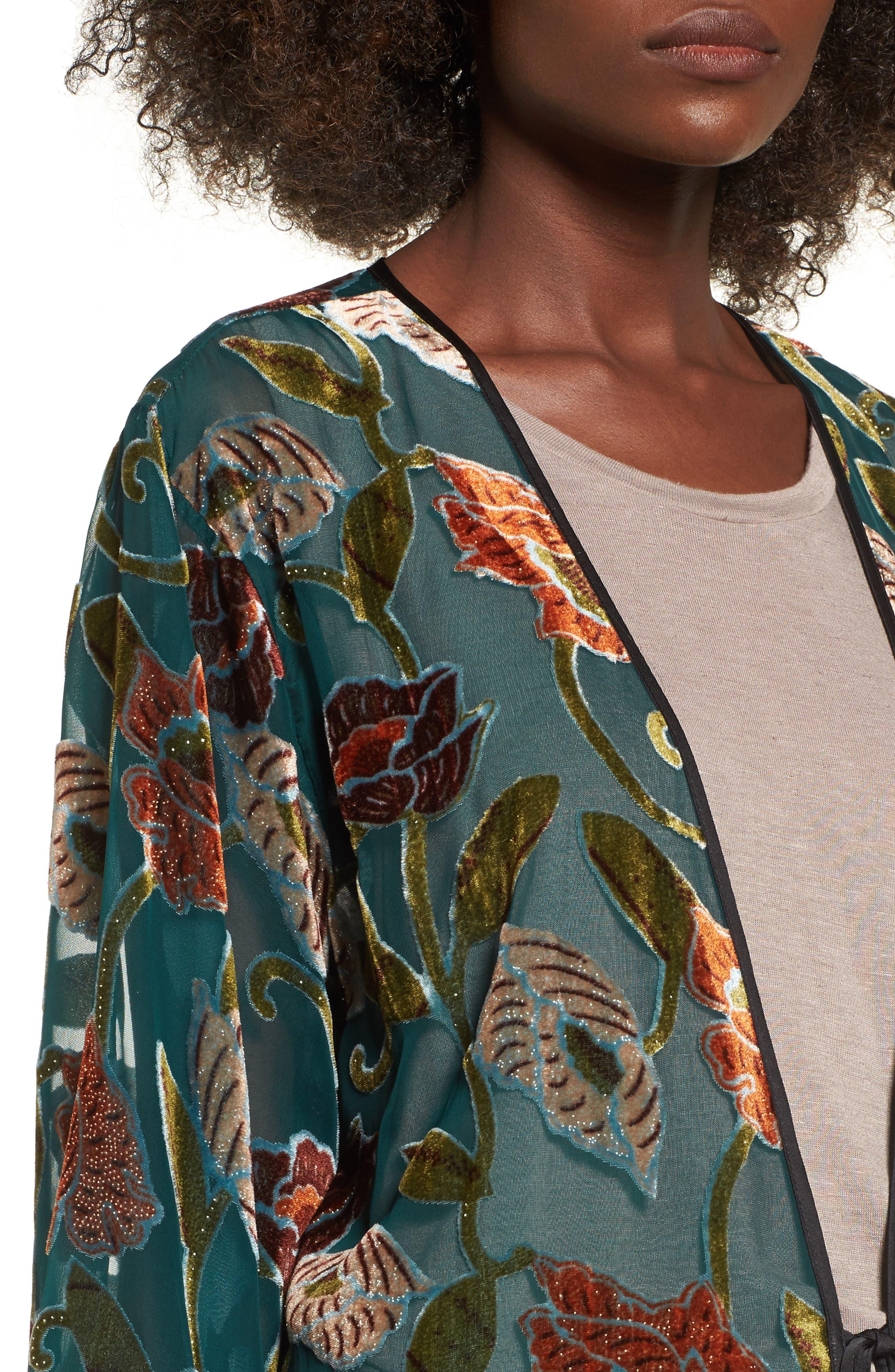Velvet Burnout Kimono,                             Alternate thumbnail 4, color,                             440