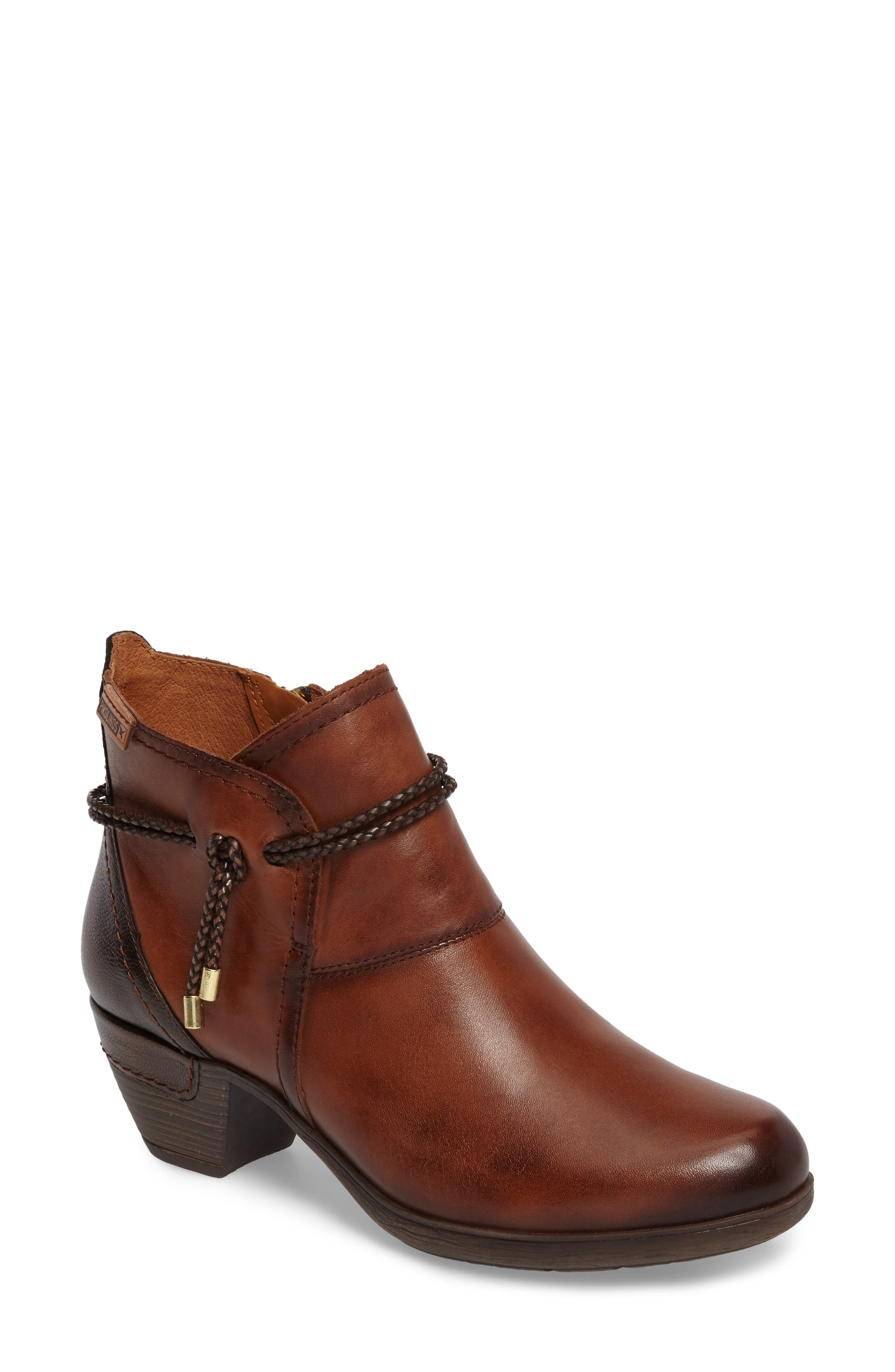 'Rotterdam' Braid Strap Bootie,                             Main thumbnail 1, color,                             CUERO BROWN OLMO LEATHER