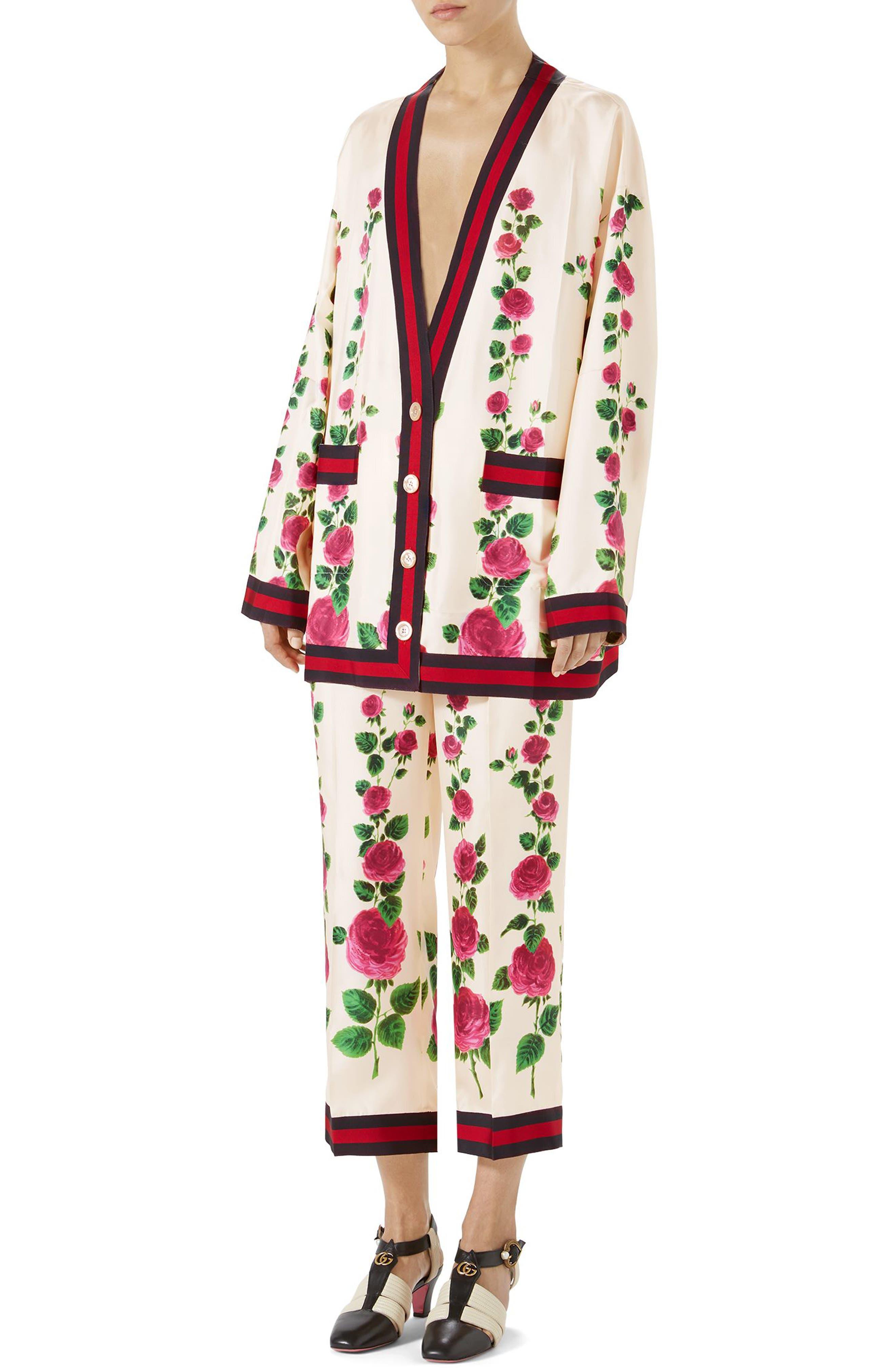 Rose Print Silk Pajama Pants,                             Alternate thumbnail 3, color,                             909