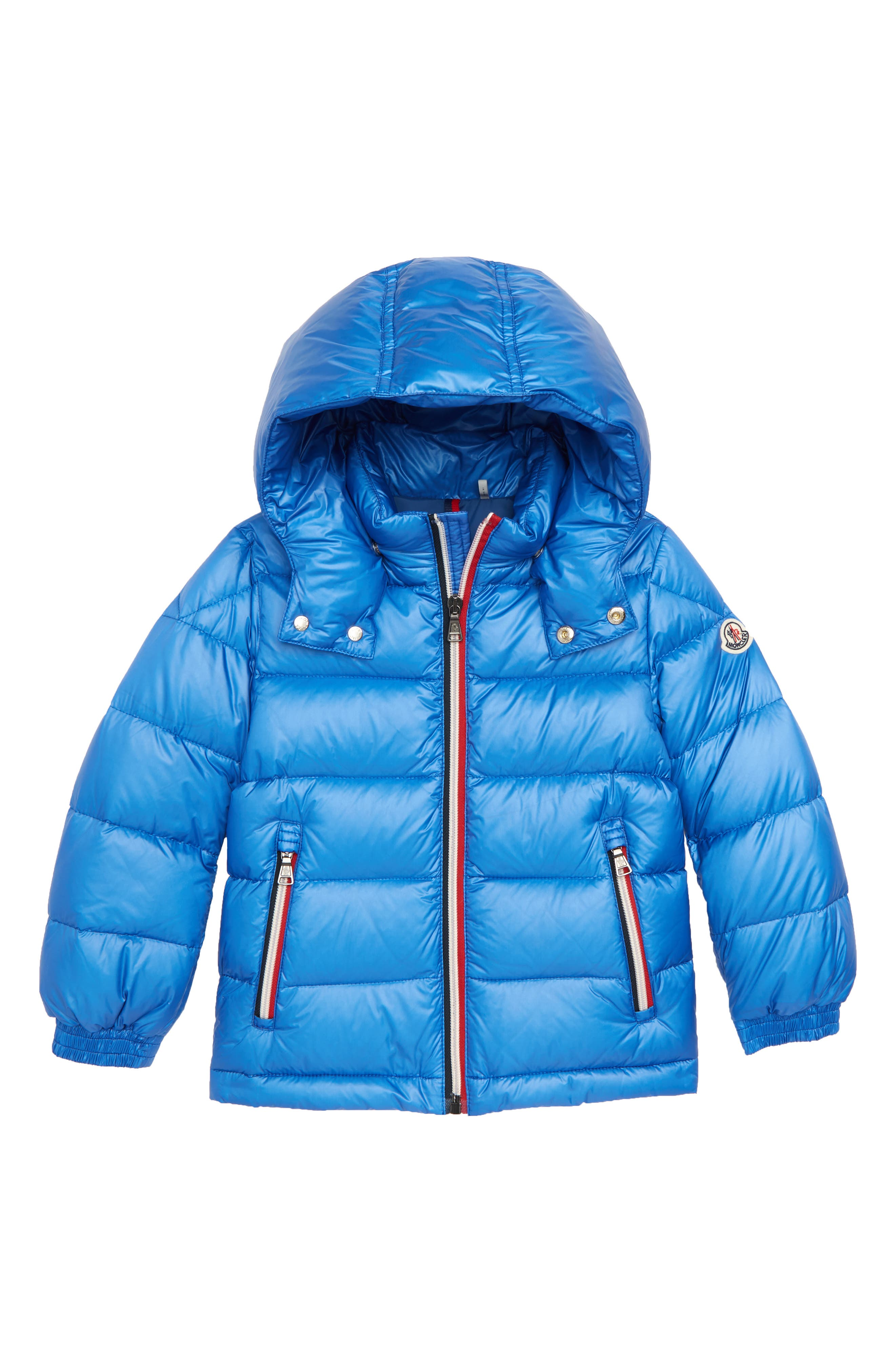 Gastonet Hooded Water Resistant Down Jacket,                         Main,                         color, BRIGHT BLUE